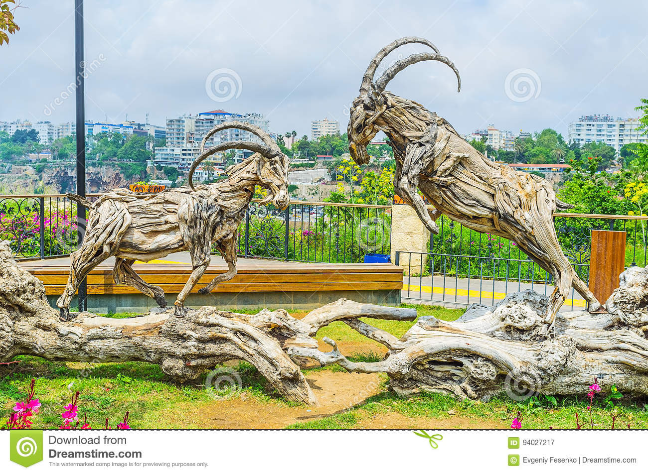 The fight of wooden ibexes