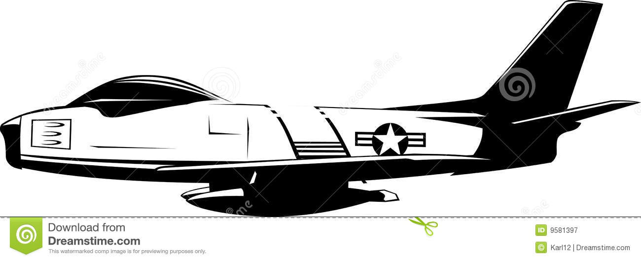 fighter f86 sabre black and white royalty free stock