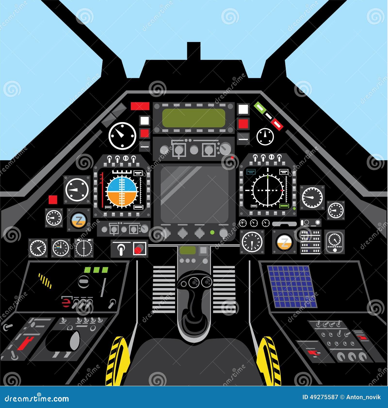 Fighter Jet Cockpit Stock Vector - Image: 49275587
