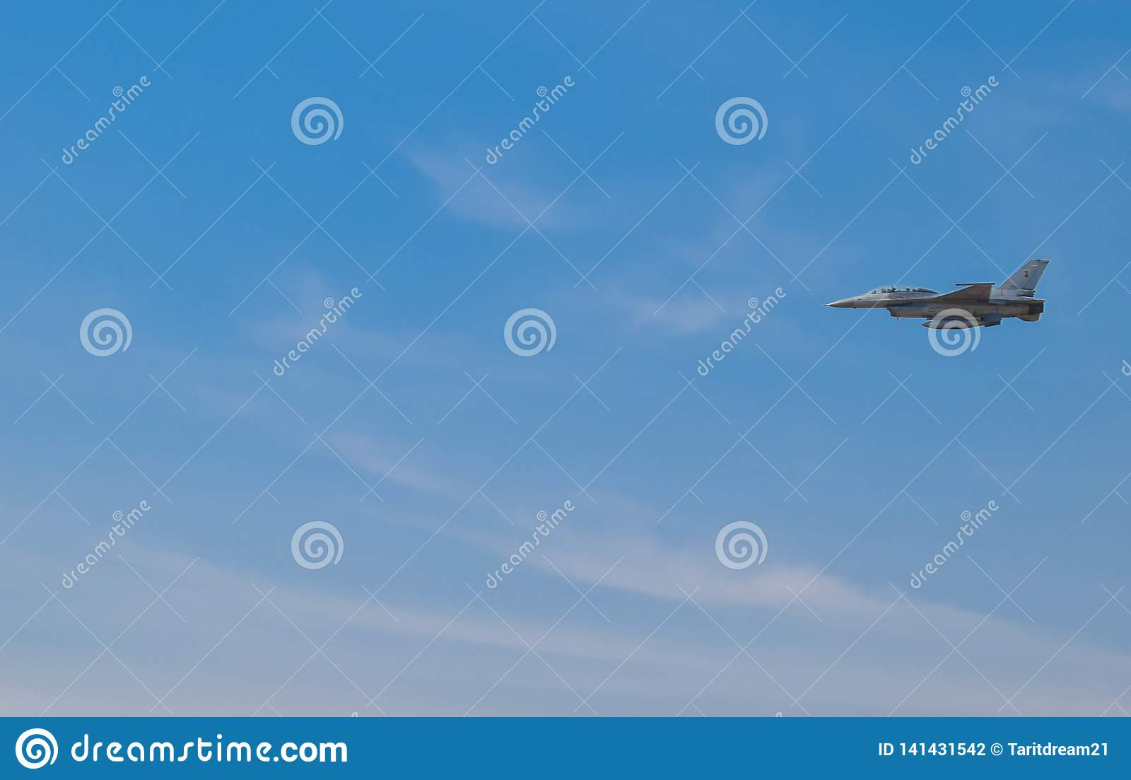The fighter planes are flying over the Thai airspace. In the bright blue sky