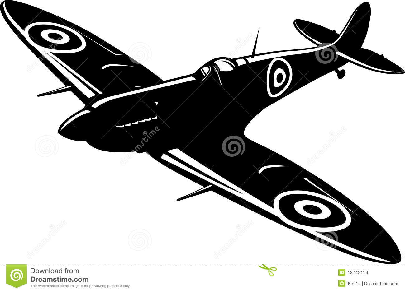 Vector illustration of a fighter Spitfire black and white.