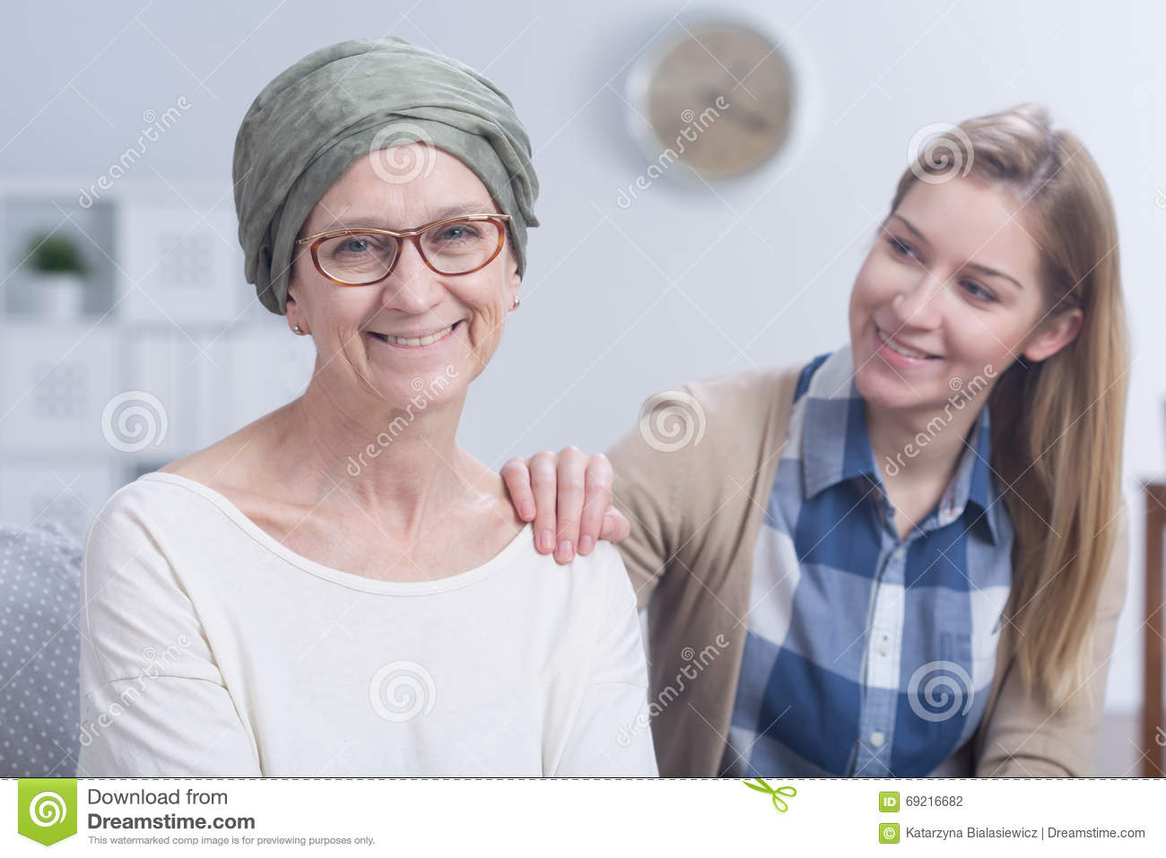 Fighting With Cancer With Family's Support Stock Photo