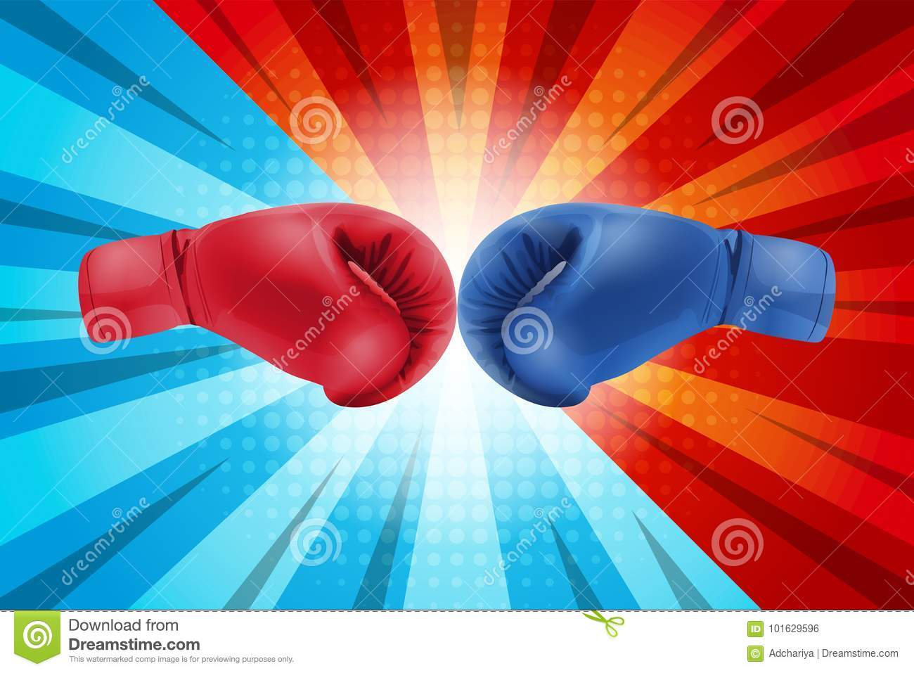 Fighting for comic background. Boxing gloves Red and Blue hitting together on comic background.