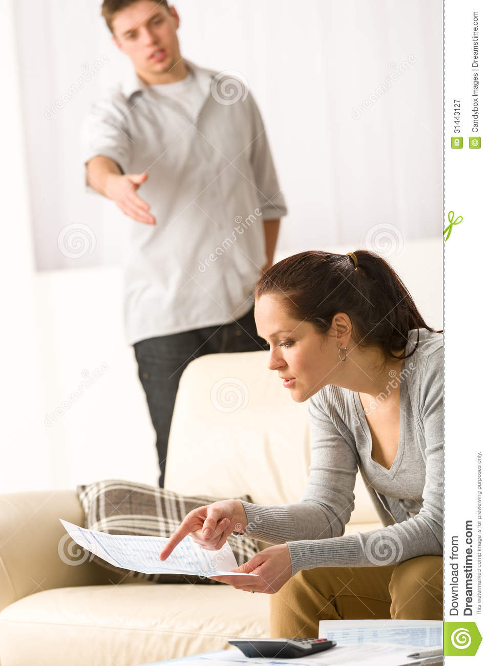 Fighting Couple Over Bills And Tax Stock Image Image