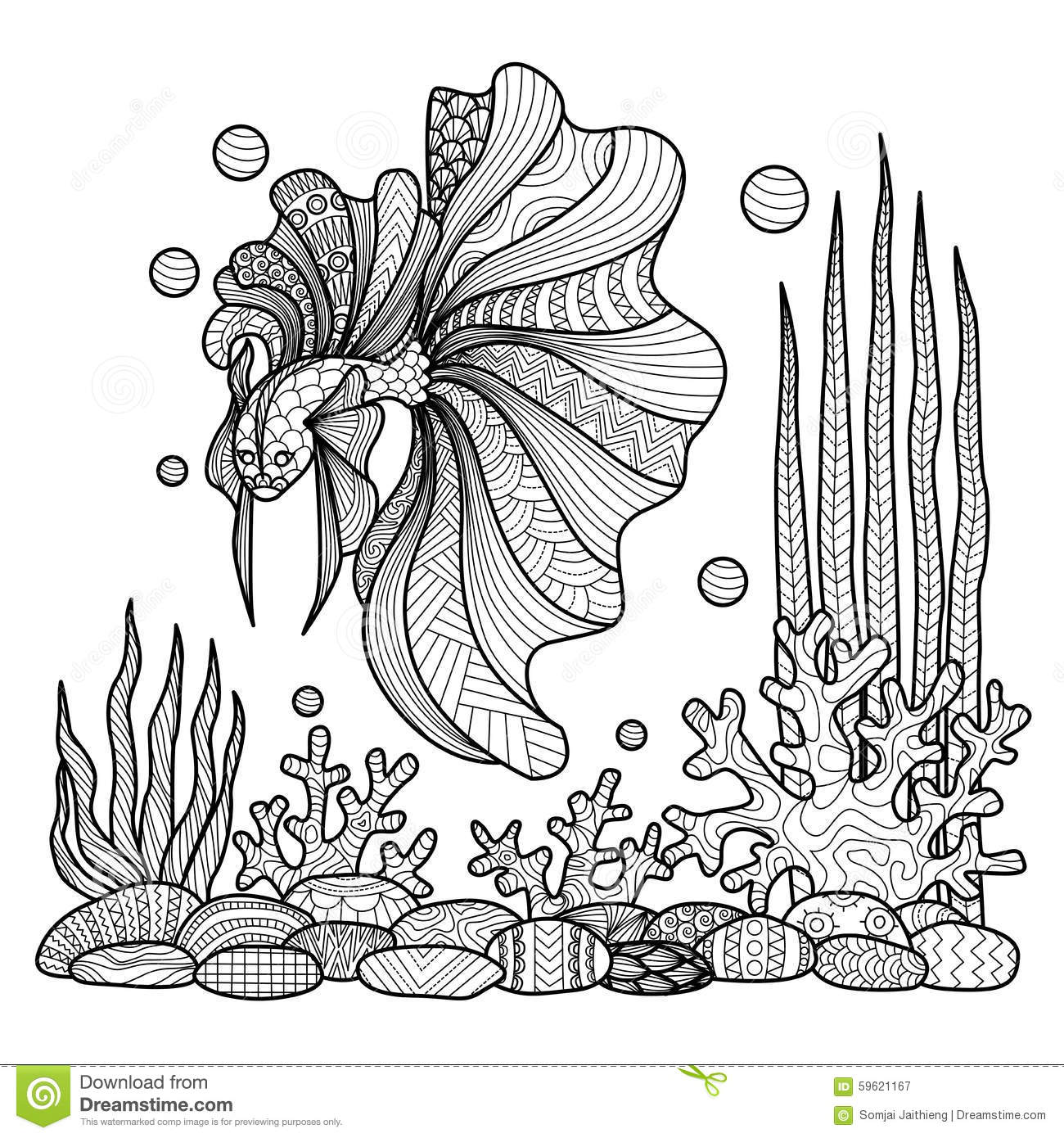 Fighting Fish Drawing For Coloring Book. Stock Vector