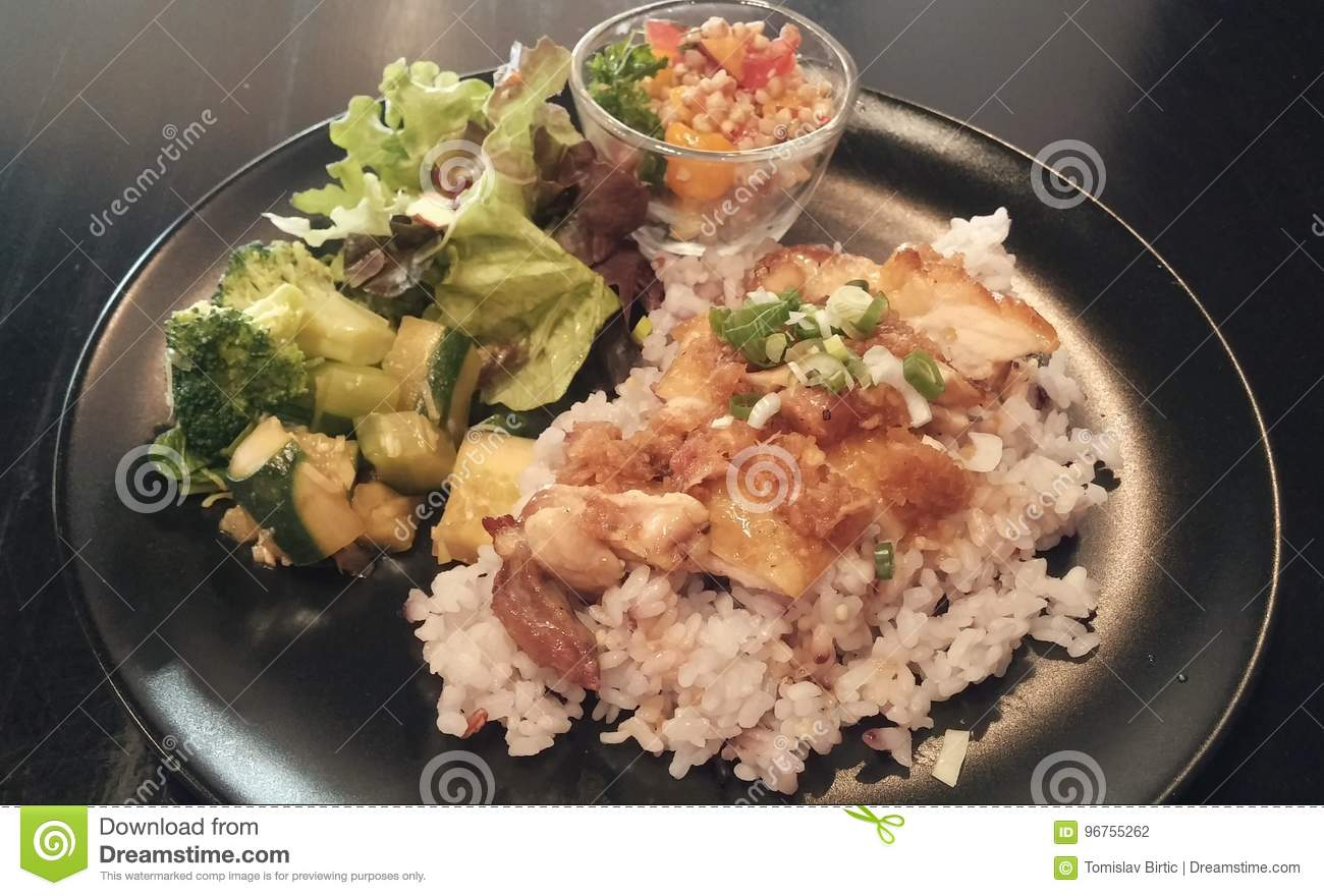 Fighting Obesity Chicken Rice And Salad Stock Photo Image Of Vitamins Asia 96755262