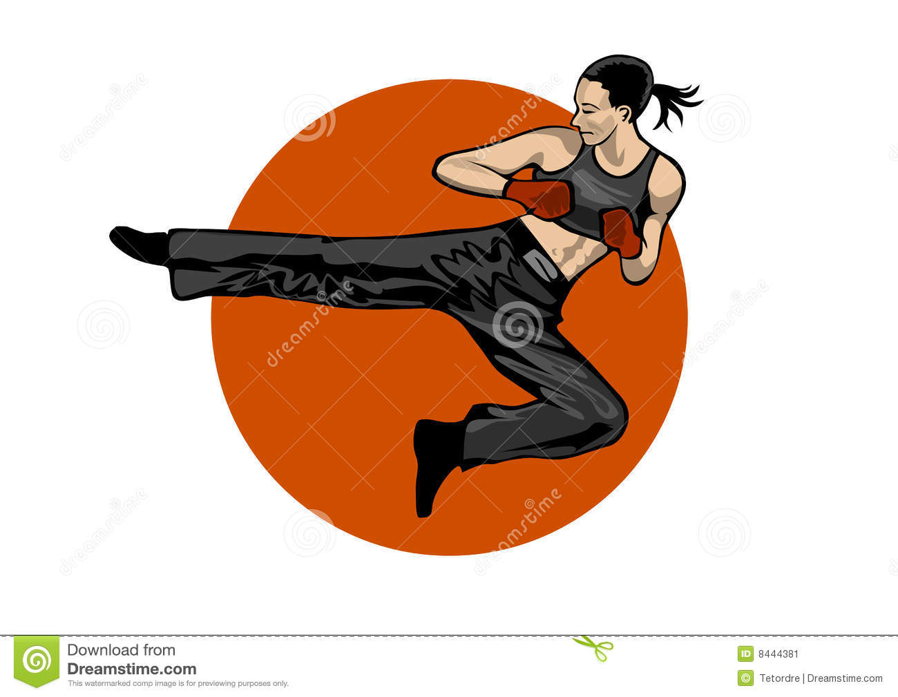 Fighting woman on white background
