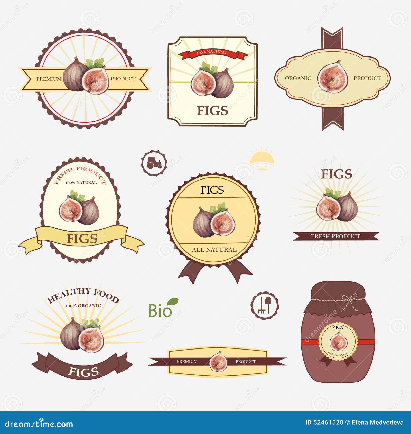 Figs Set Label Design Templates Vector Illustration Natural Fresh Fruit Juice Retro