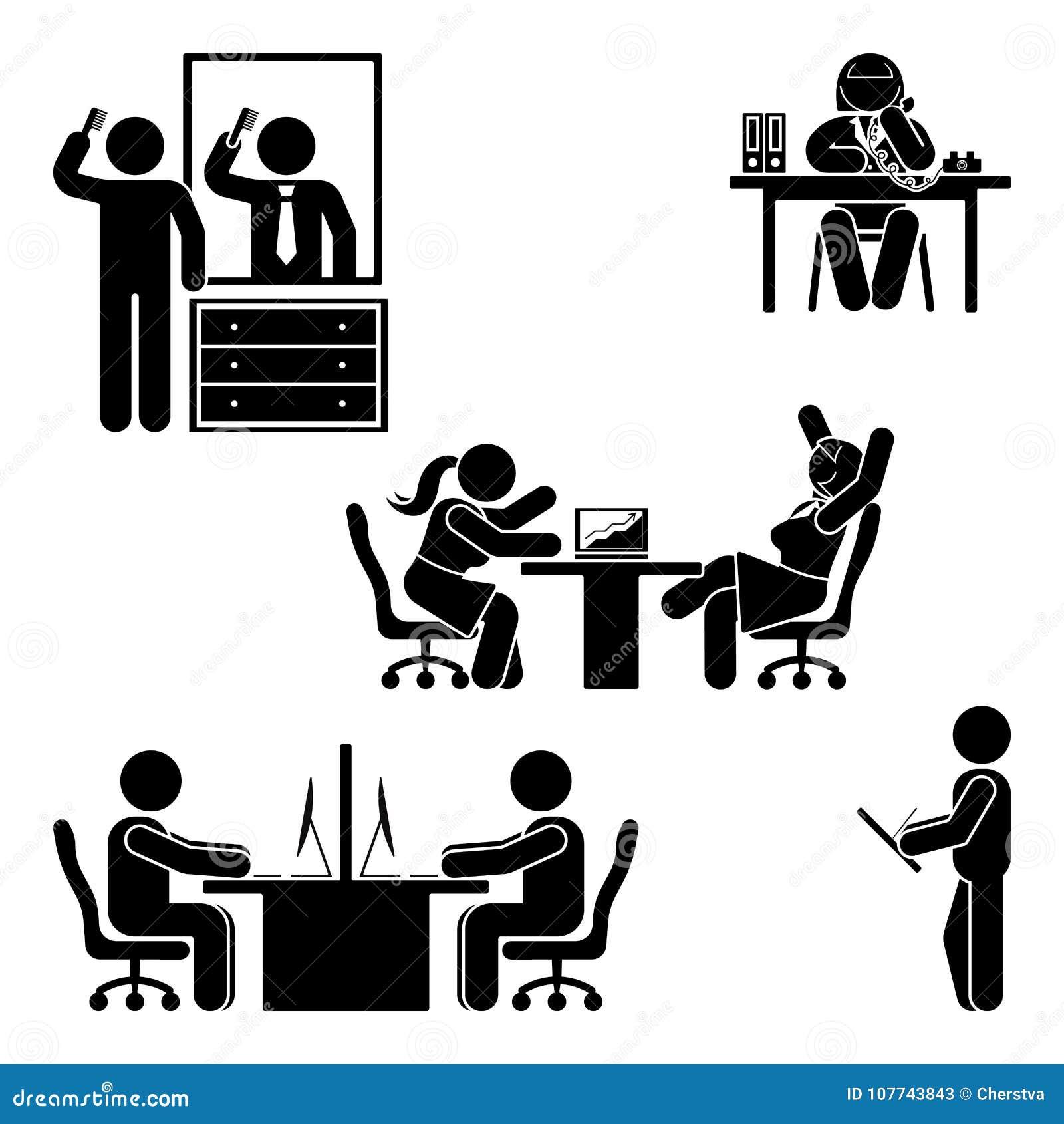 Figura actitudes del palillo de la oficina fijadas Ayuda del lugar de trabajo de las finanzas del negocio Trabajando, sentándose,