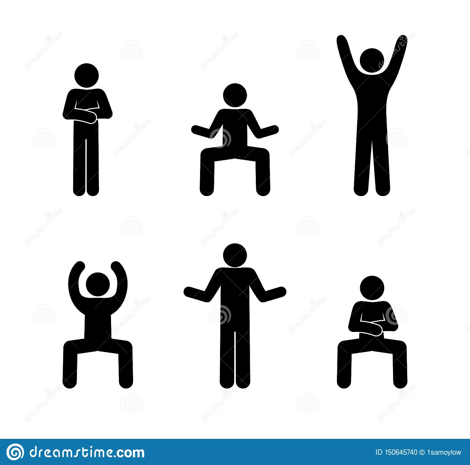 Figura actitudes del palillo del pictograma del baile del hombre diversas