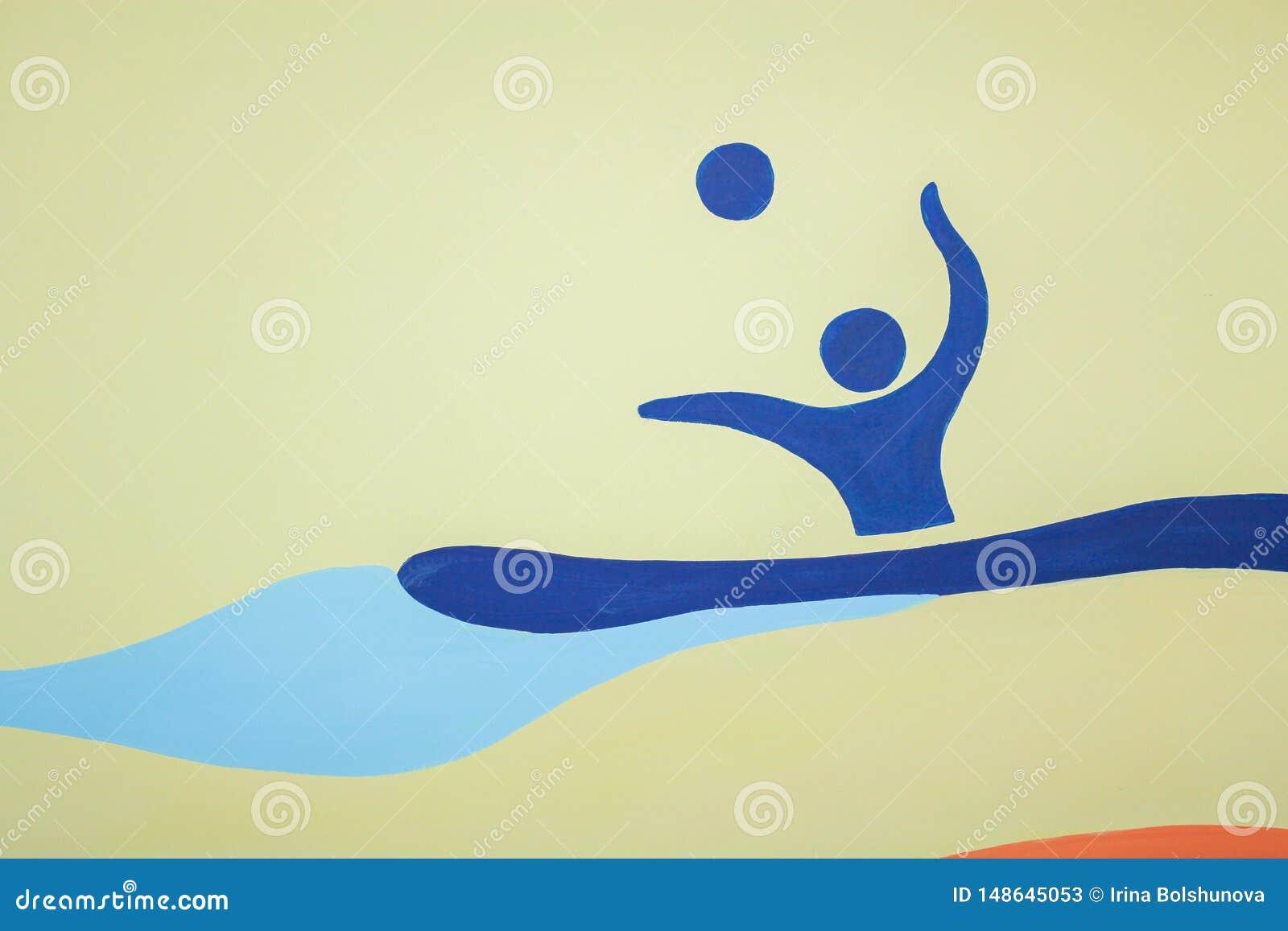Figura azul del hombre que nada con una bola
