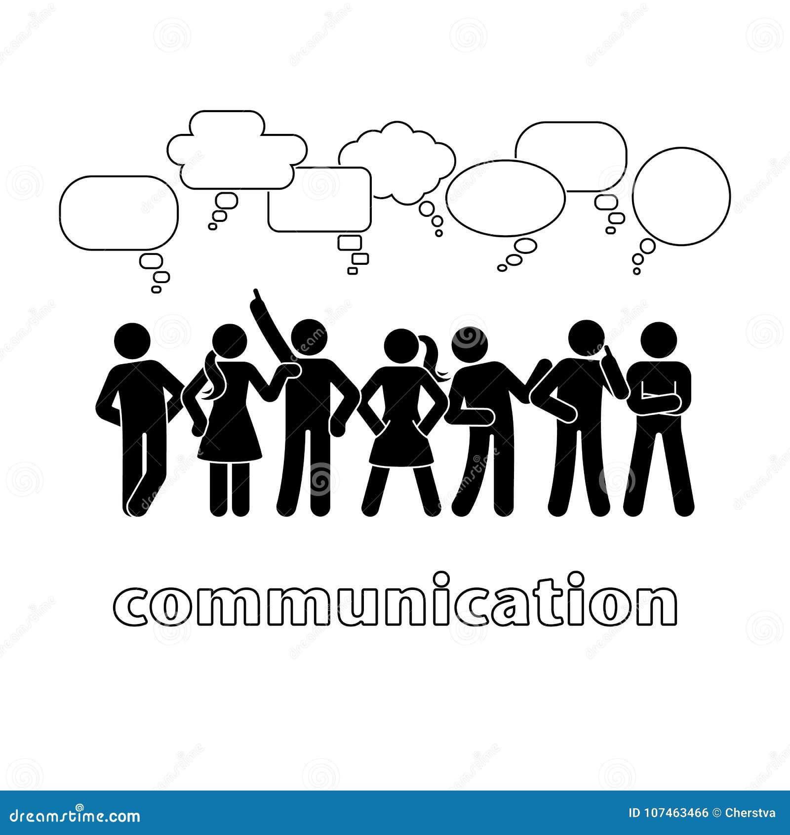 Figura bolhas da vara do discurso de uma comunicação do diálogo ajustadas Falando, pensando, pictograma da conversação do grupo d
