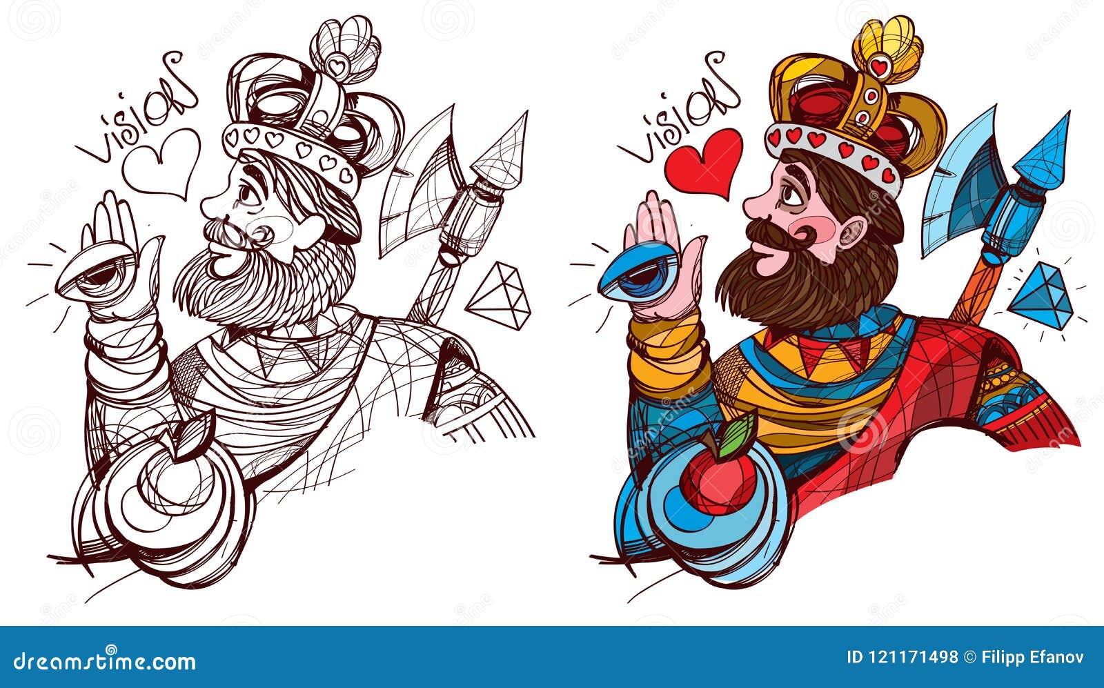 Figura Carácter Rey Del Traje Del Símbolo De Los Corazones Espadas