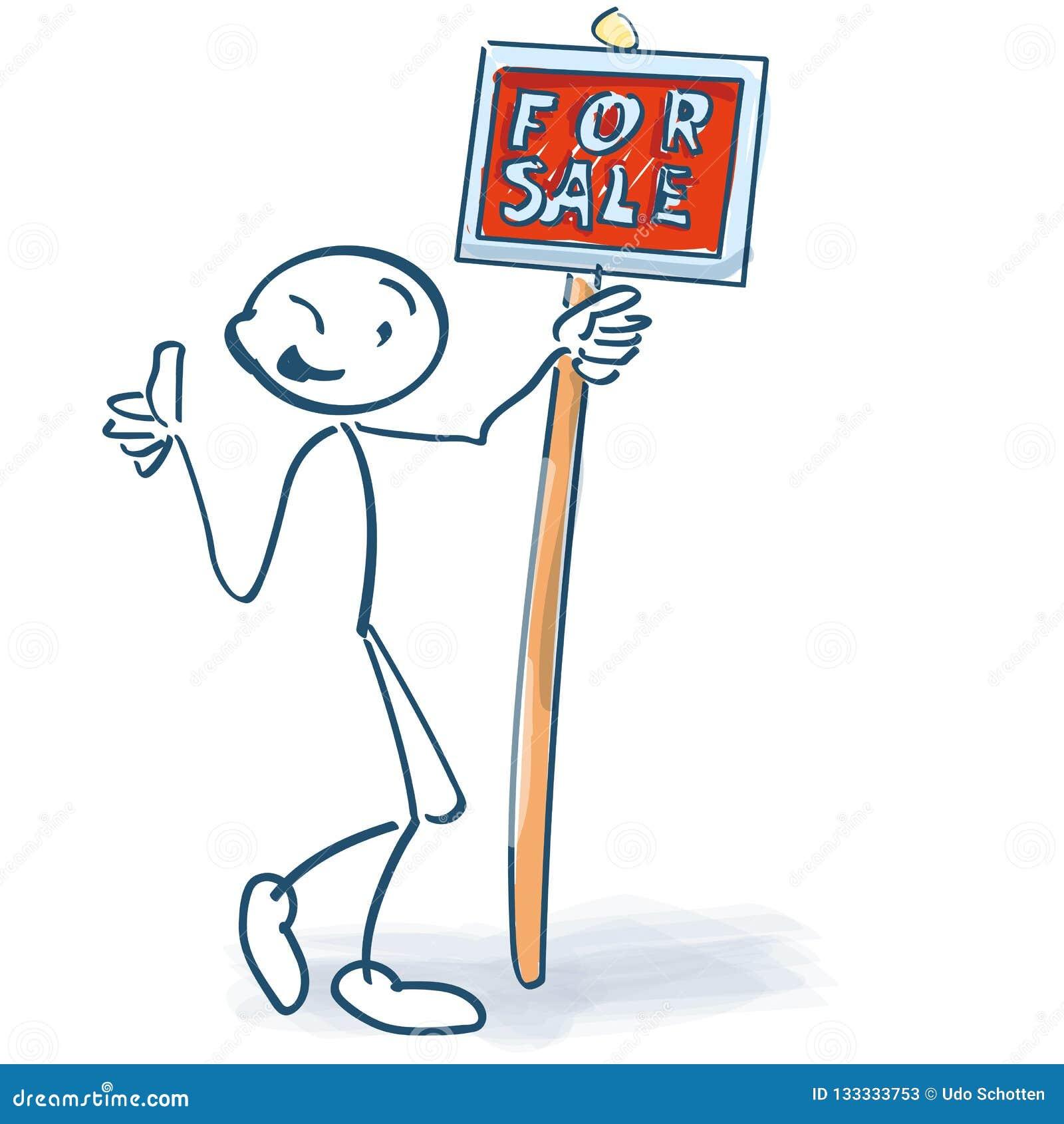 Figura da vara com um sinal vermelho para a venda