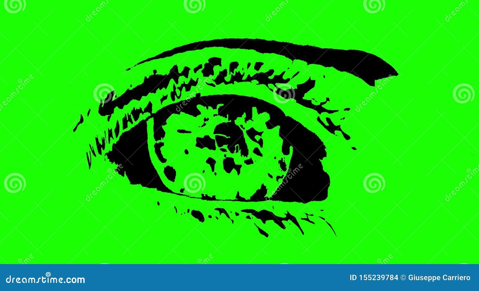 Figura de un ojo en el fondo de pantalla verde, bosquejo, estilizado, simplificado, imagen, logotipo