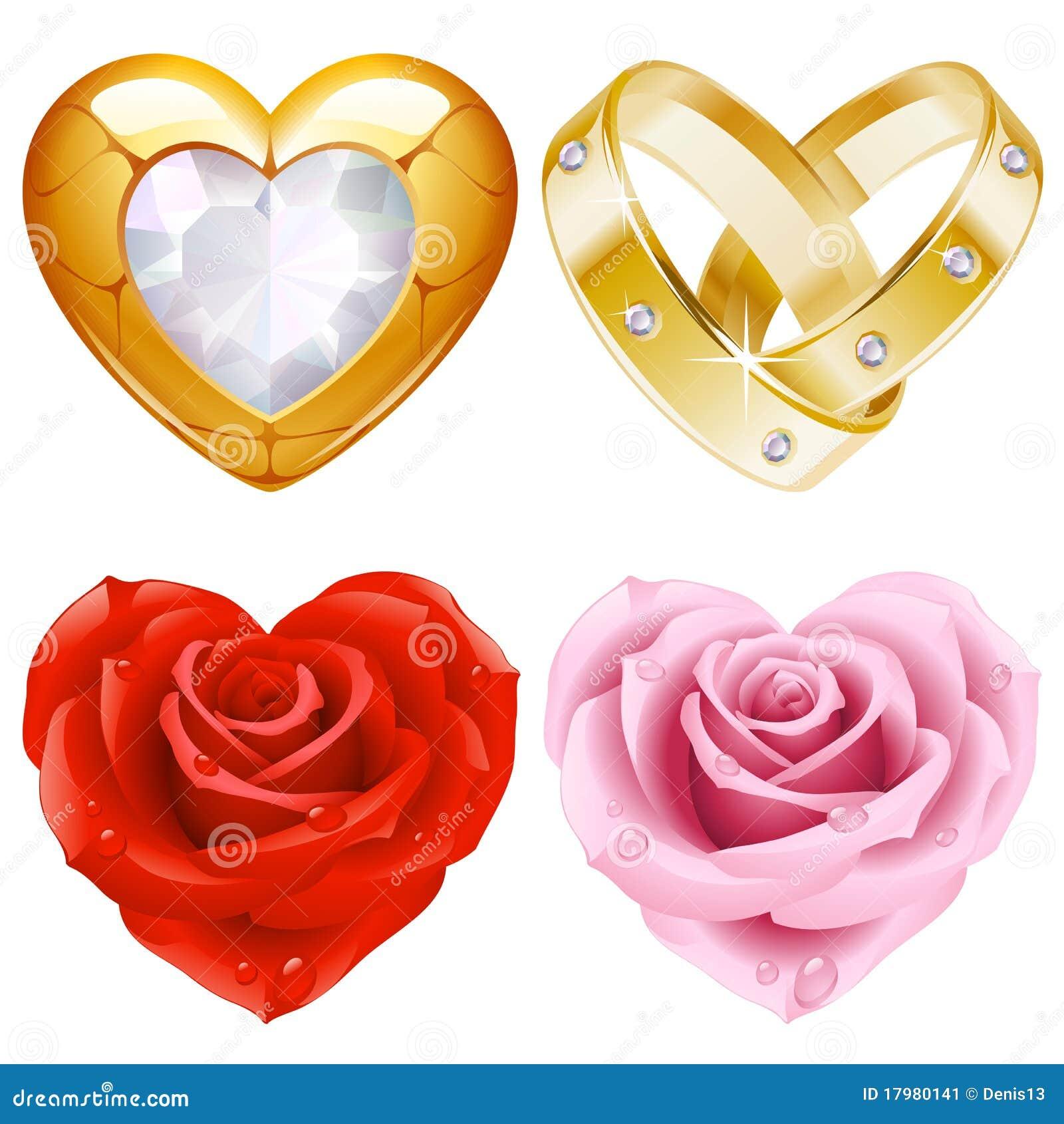 Figura dei monili e delle rose dorati dell insieme 4. del cuore