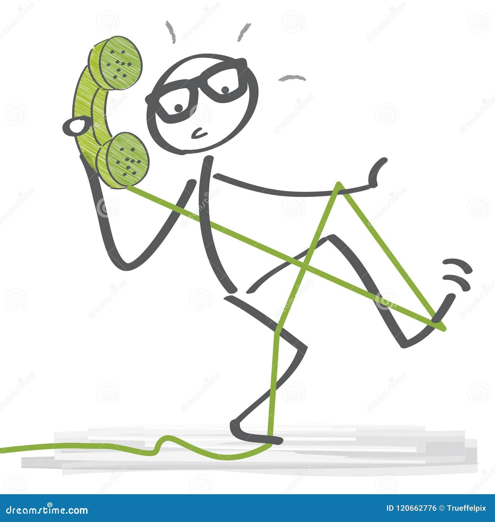 Figura del bastone che parla sul telefono