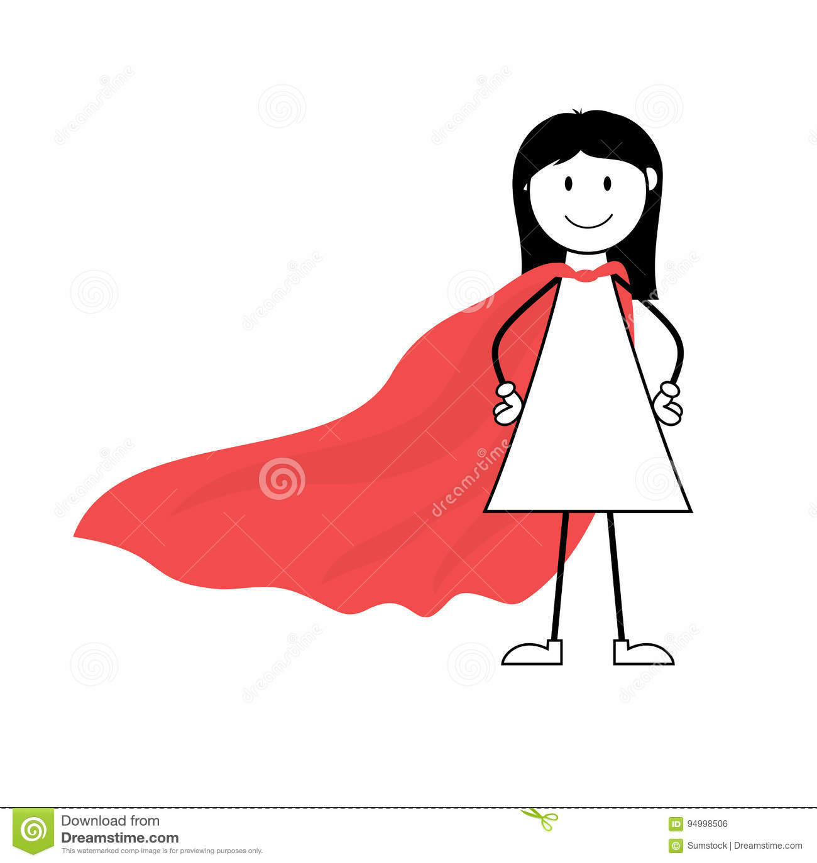 Figura del bastone della ragazza del supereroe del fumetto con capo rosso