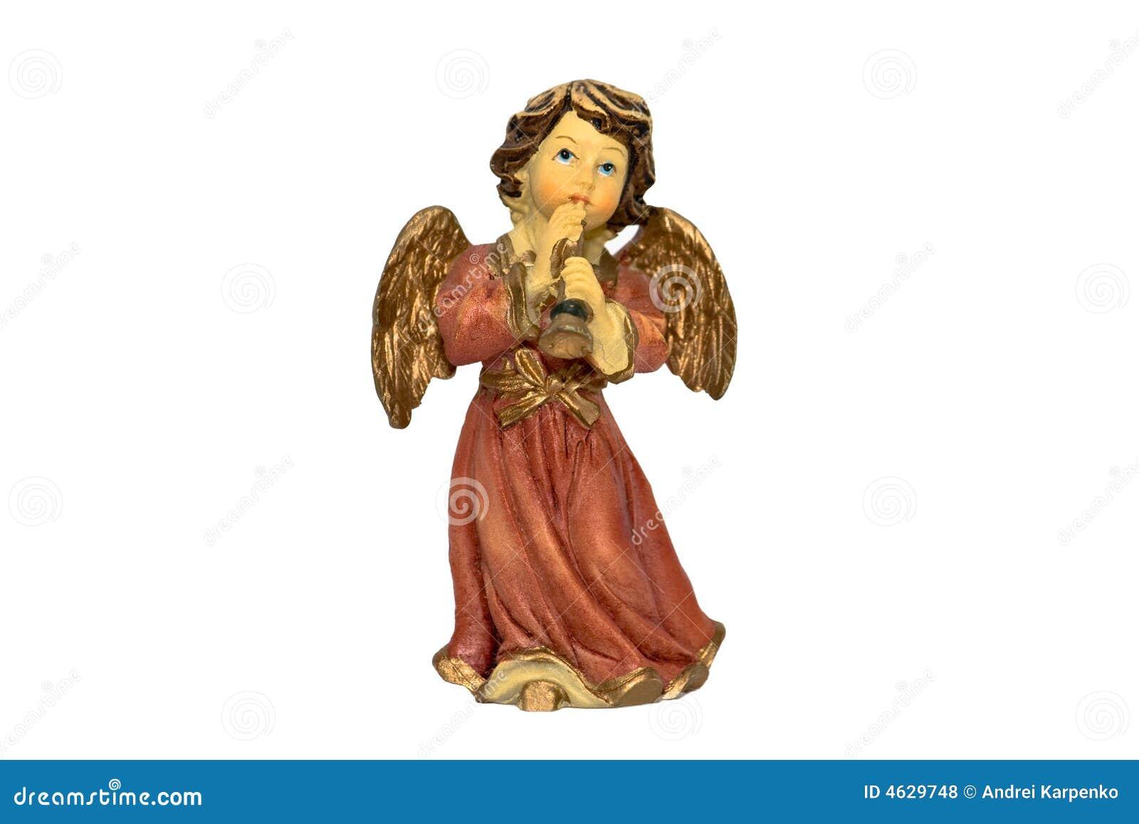 Figura do anjo do Natal que joga o chifre
