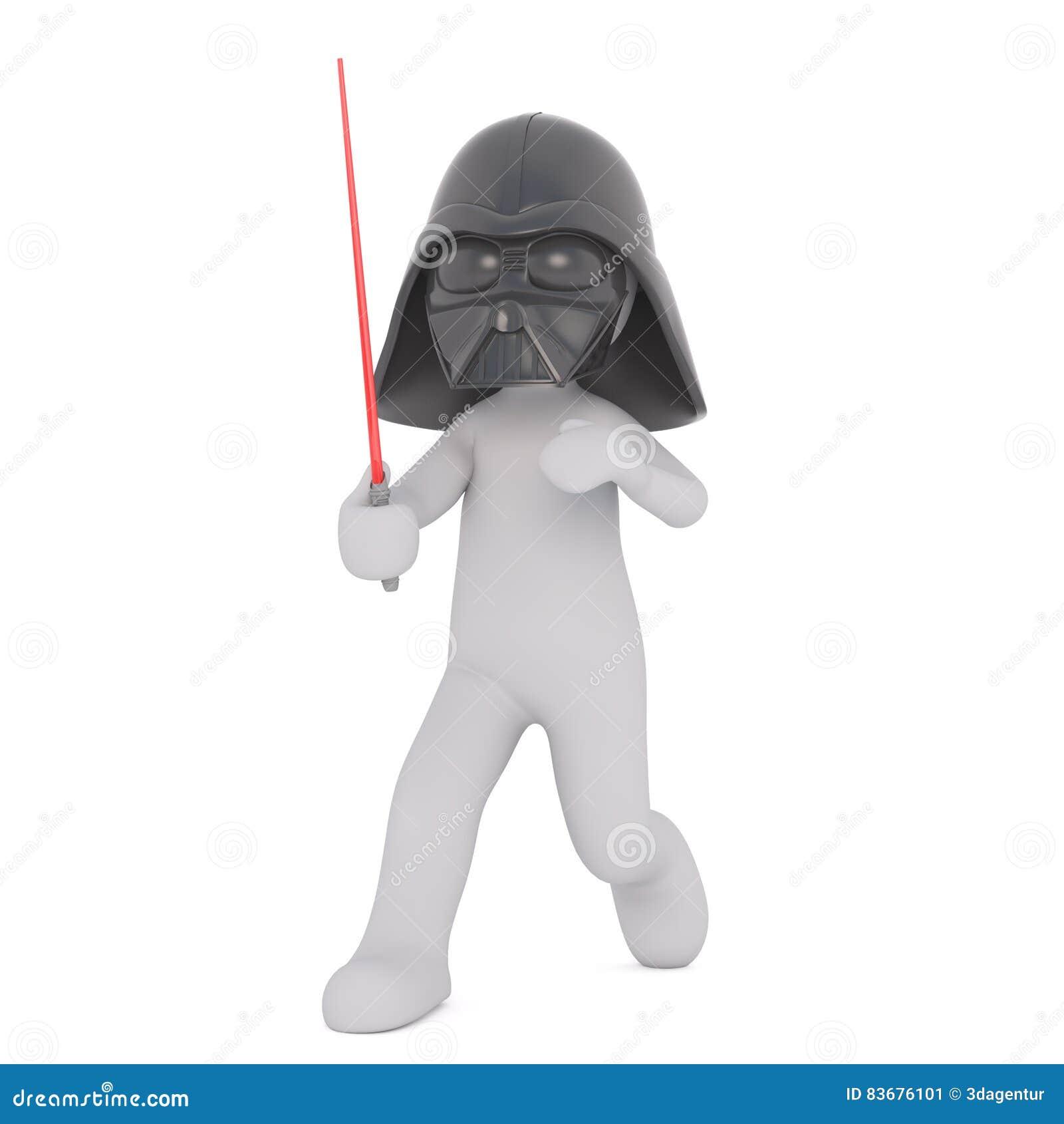 Figura Dos Desenhos Animados Na Mascara De Darth Vader Com Espada