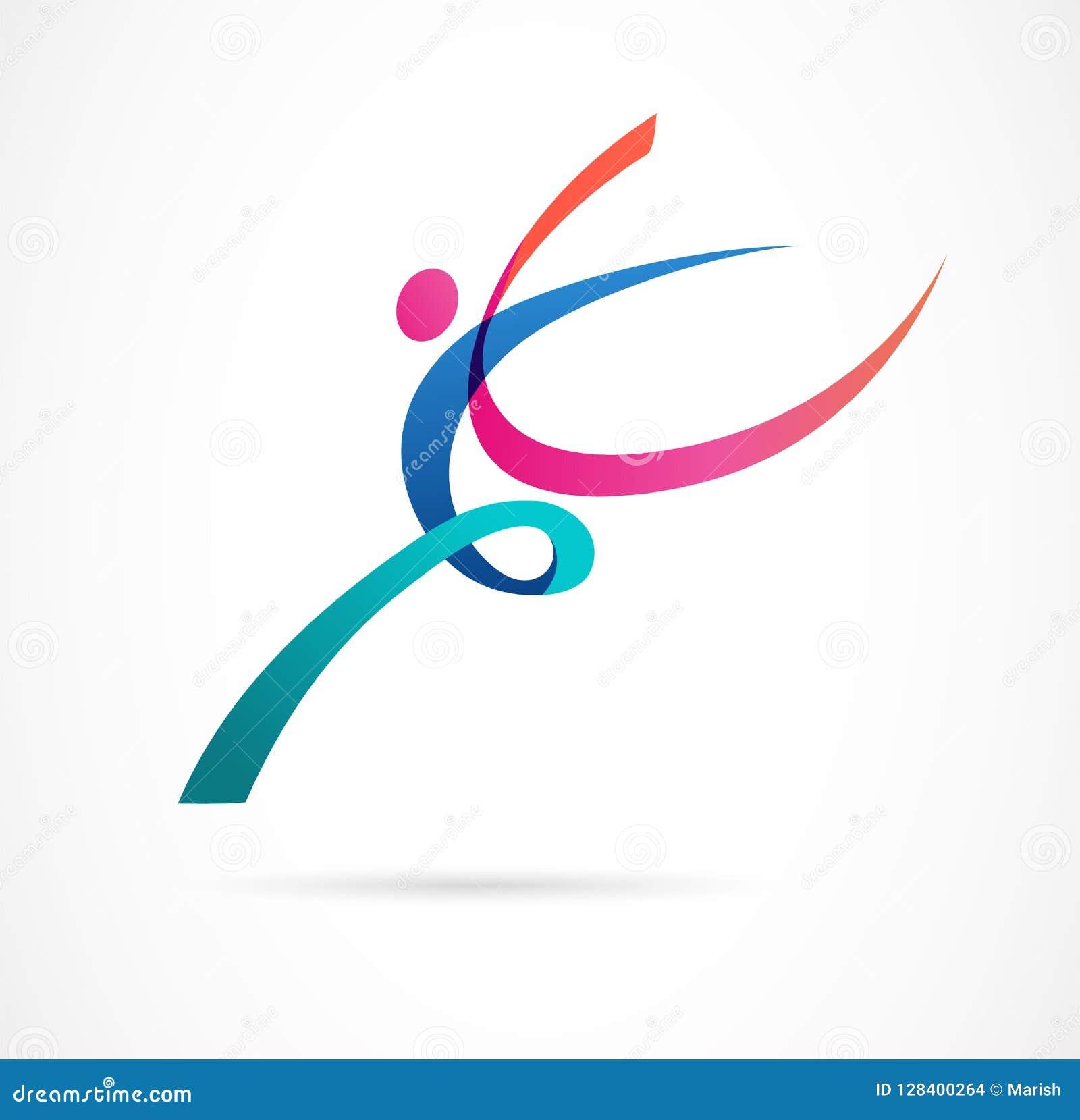Figura humana abstracta diseño del logotipo Gimnasio, aptitud, logotipo colorido del vector corriente del instructor Aptitud acti