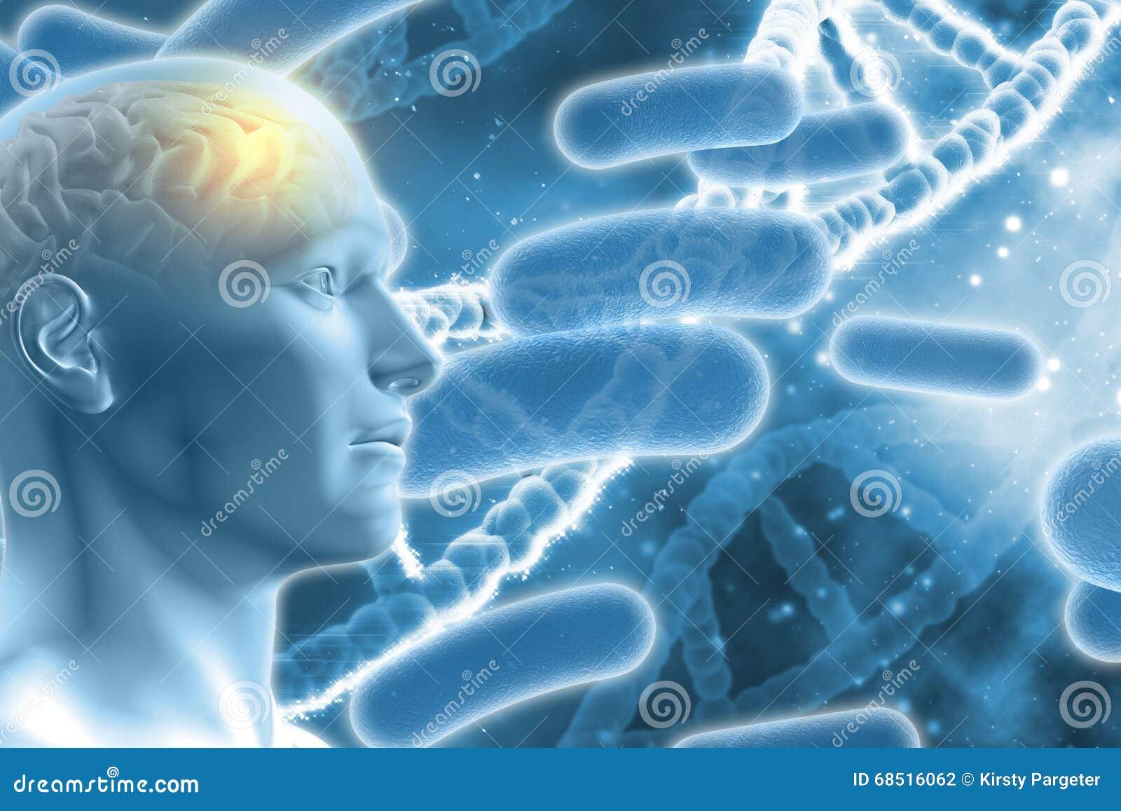 Figura maschio 3D con il cervello sul fondo medico del DNA