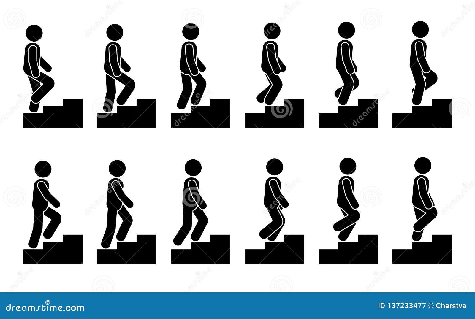 Figura maschio del bastone sull insieme dell icona delle scale Uomo di vettore che cammina il pittogramma graduale di sequenza