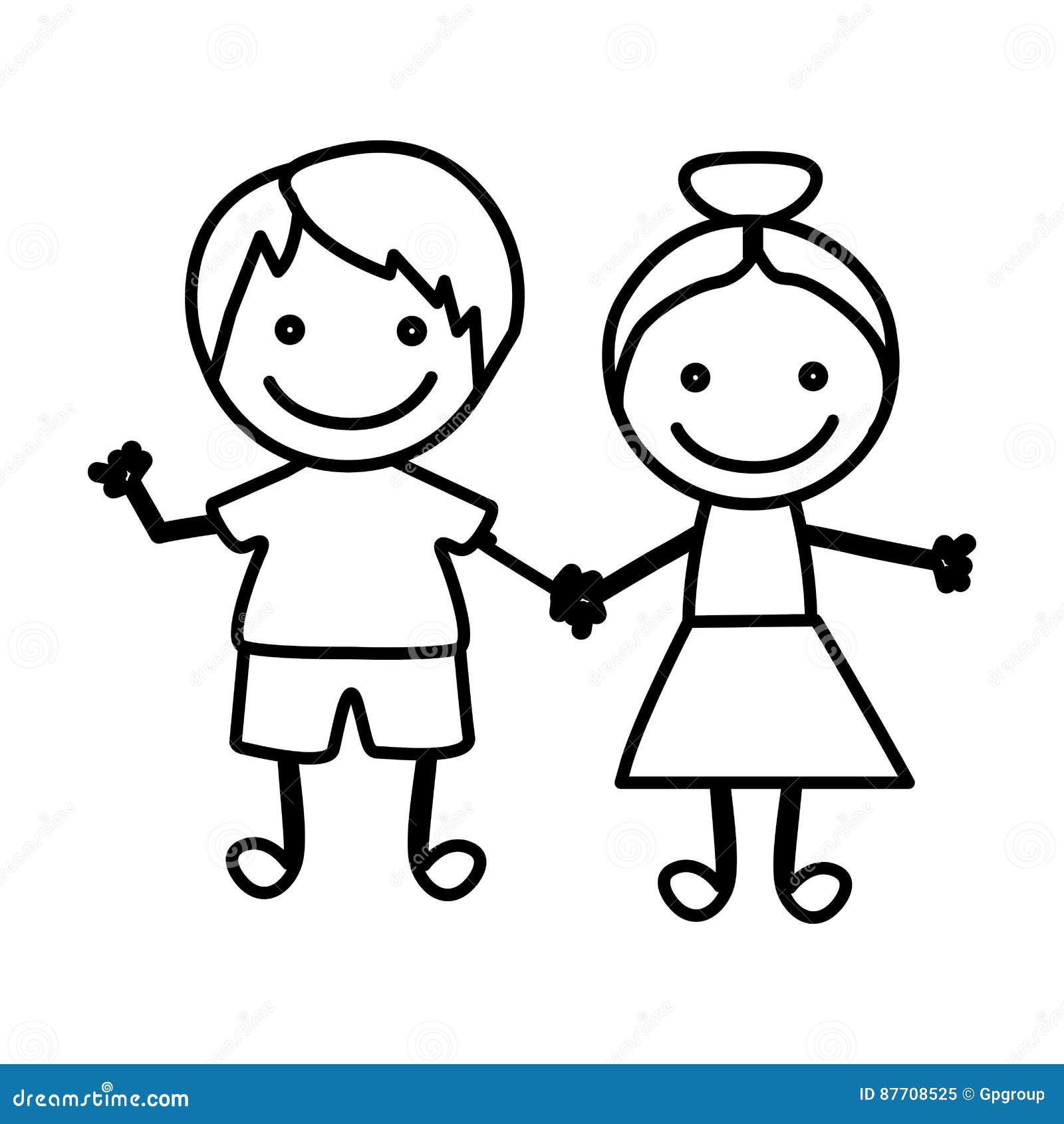 Figura niños felices con el icono de la mano junto