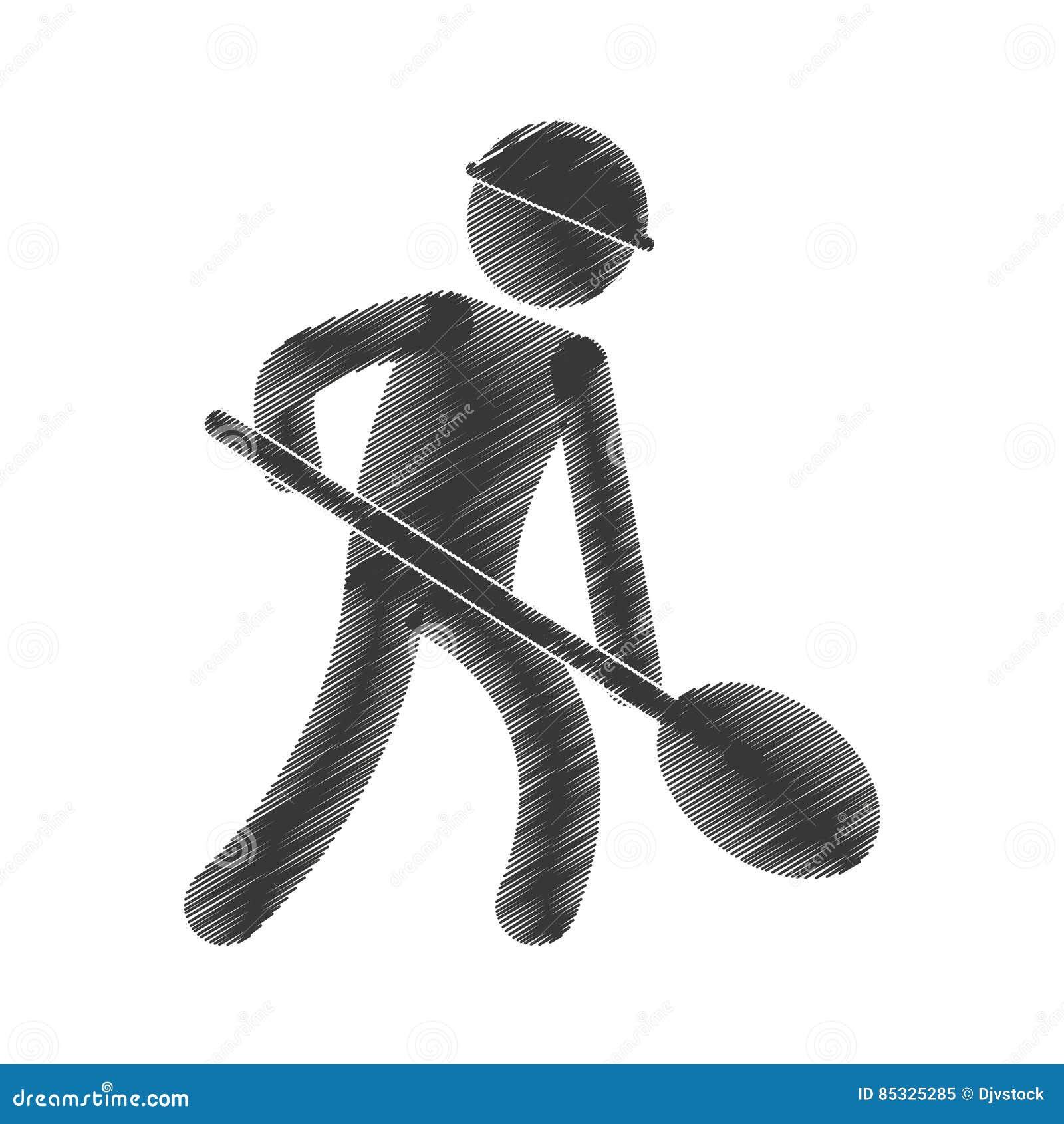 Figura Pictograma De La Pala De La Mina Del Trabajo Del Trabajador