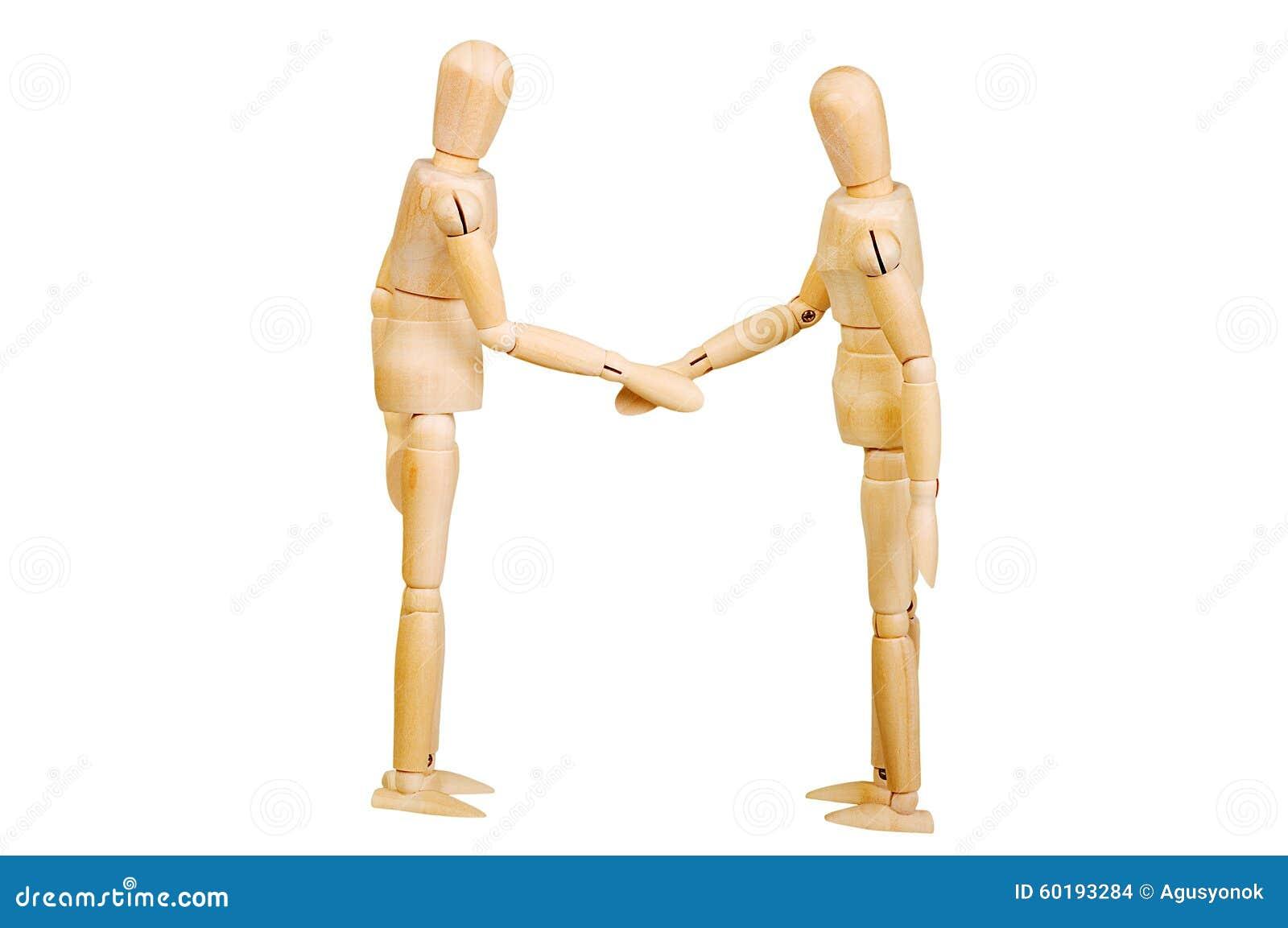 A figura ser humano de madeira da estatueta do homem faz a experiências das mostras a ação emocional em um fundo branco