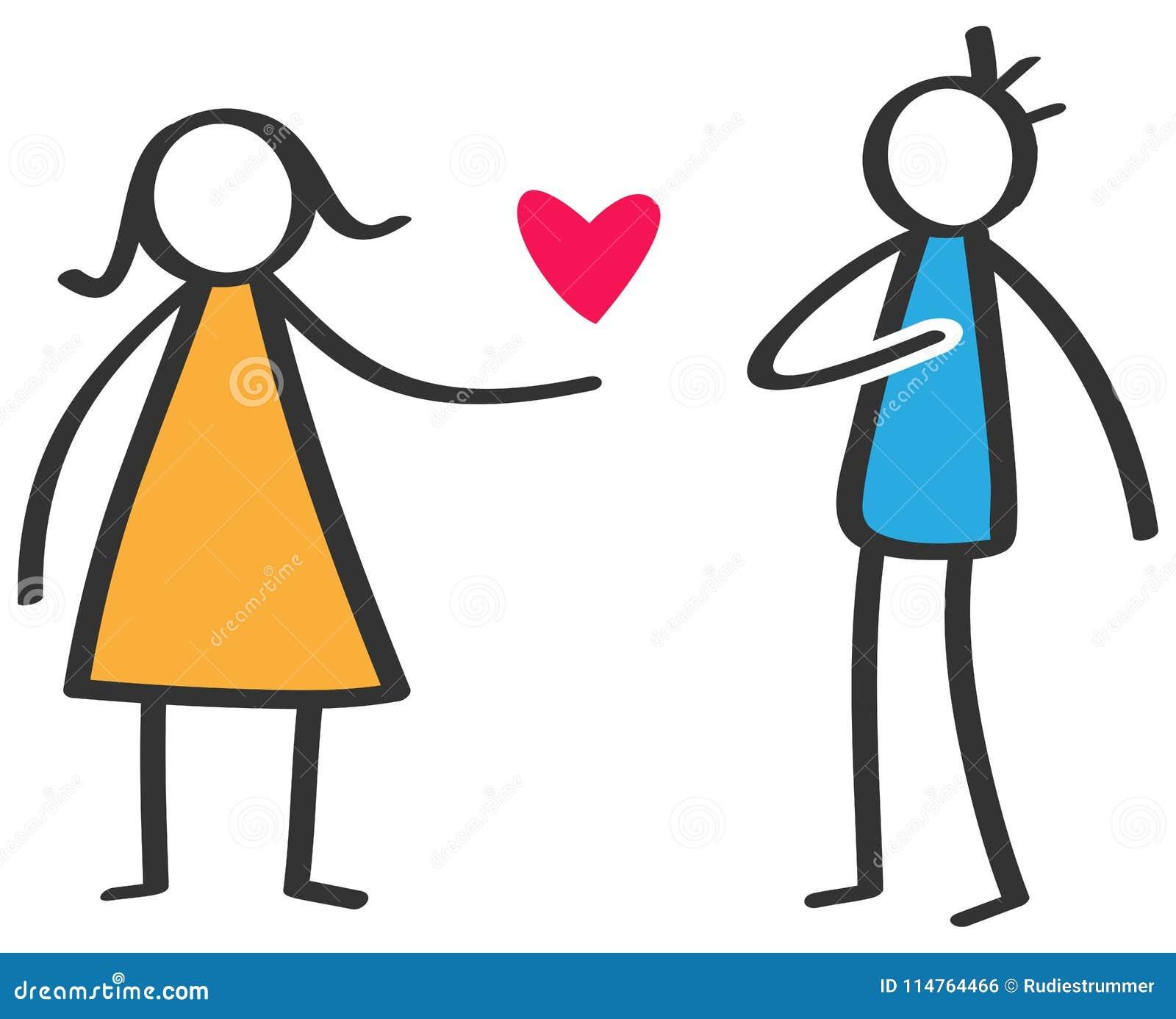 Figura variopinta semplice donna del bastone che dà ad amore cuore rosso all uomo isolato su fondo bianco, dichiarazione di amore