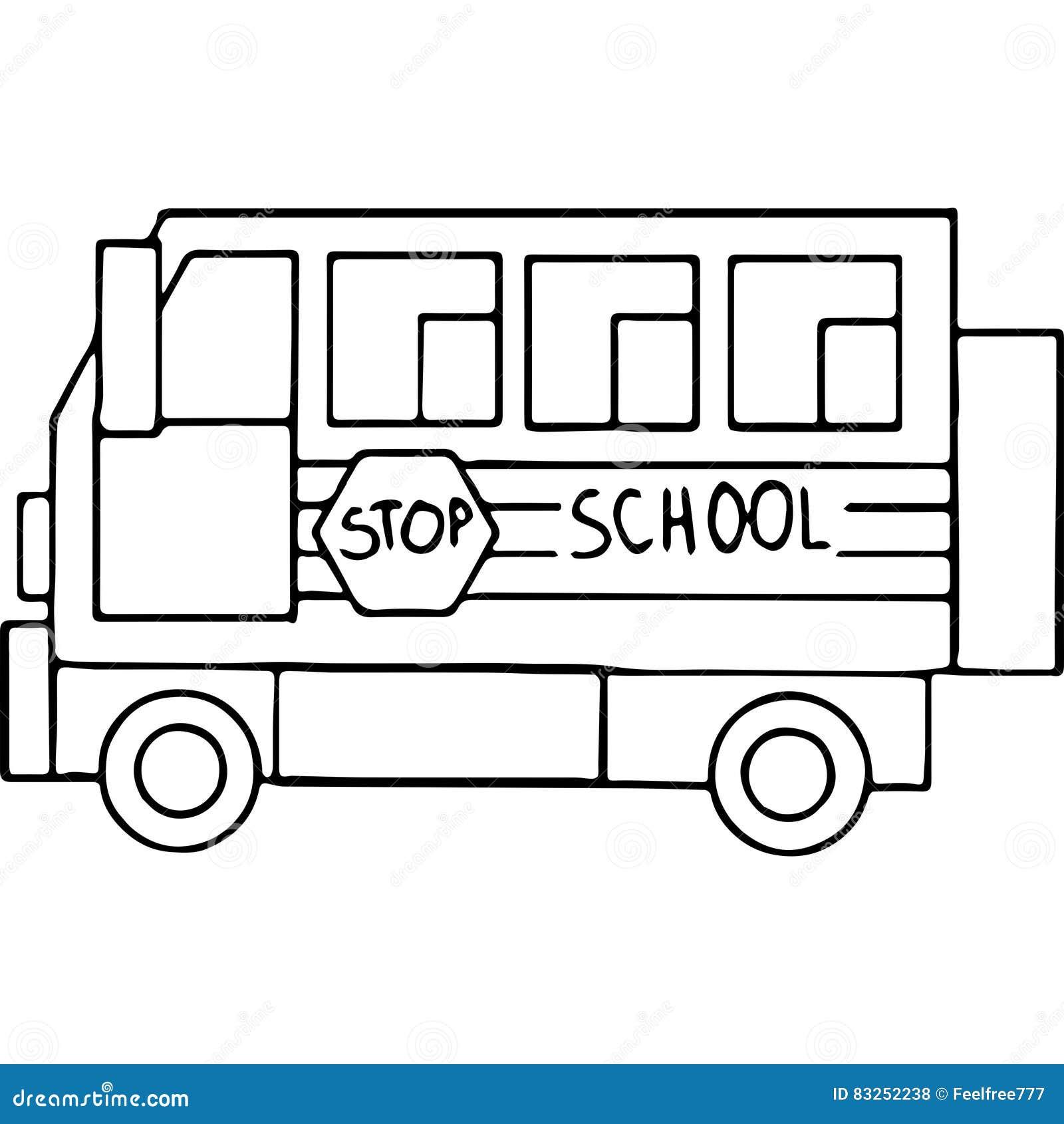 Figuras Geométricas Del Autobús De Schoool Que Colorean La Página ...