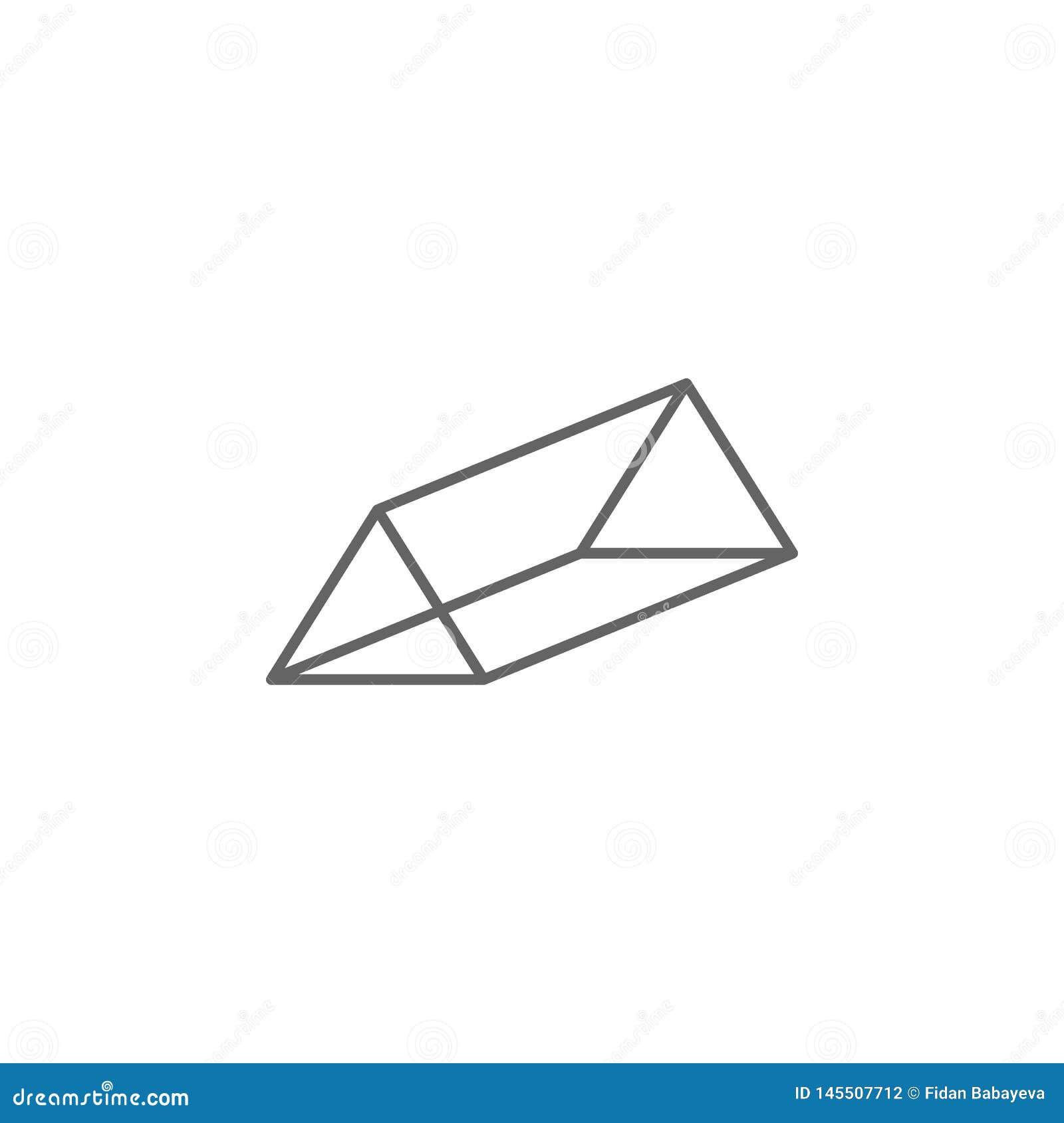 Figuras geométricas, icono del esquema de la prisma triangular Elementos de las figuras geom?tricas icono del ejemplo Las muestra