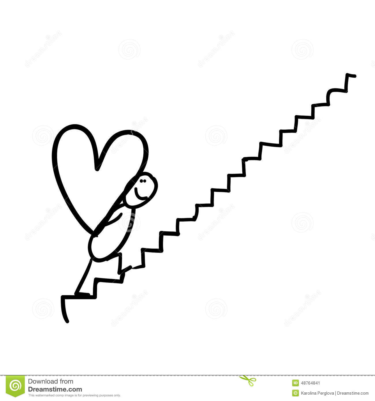 Line Drawing Valentine : Figure carrying heart on stairway stock illustration