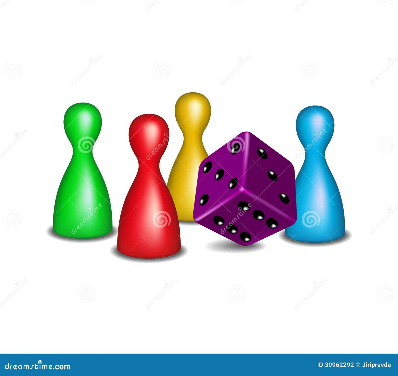 Figure del gioco da tavolo con i dadi porpora