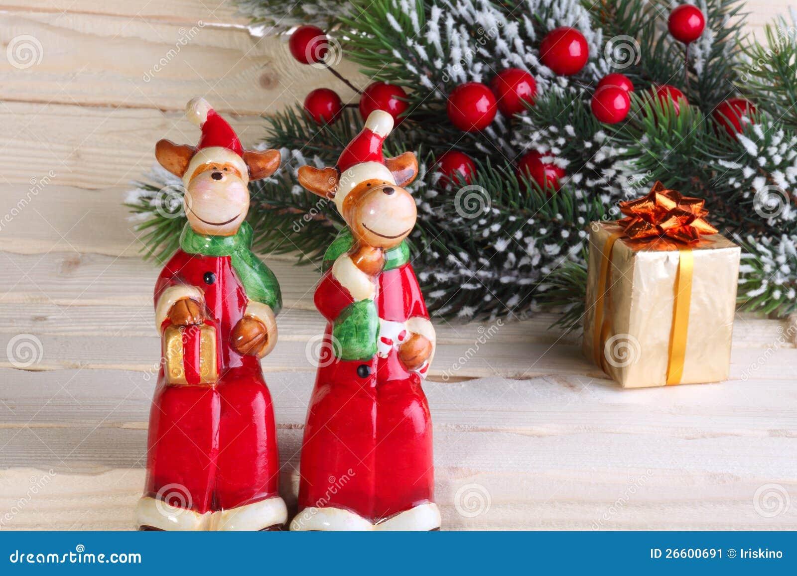 Figure Di Natale Nuovo Anno Dei Cervi Immagine Stock Immagine Di