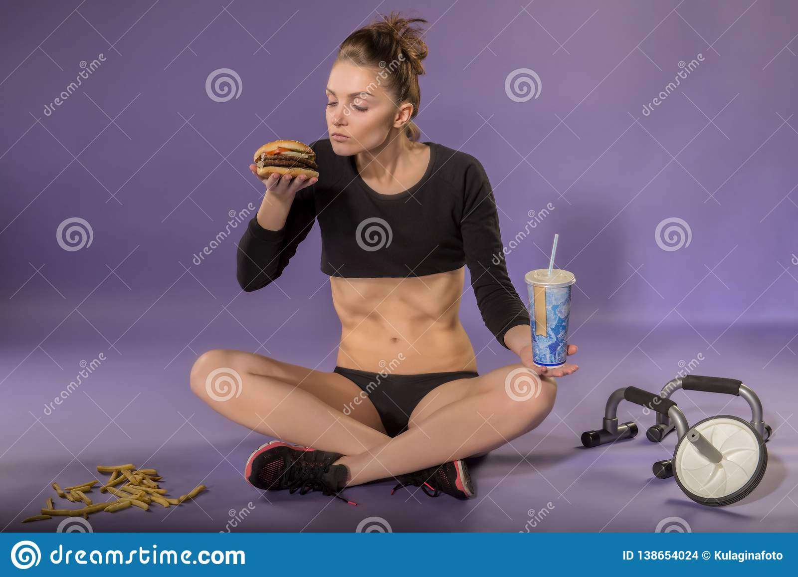 Figure and diet of a young girl. Diet. Sport and the right food.