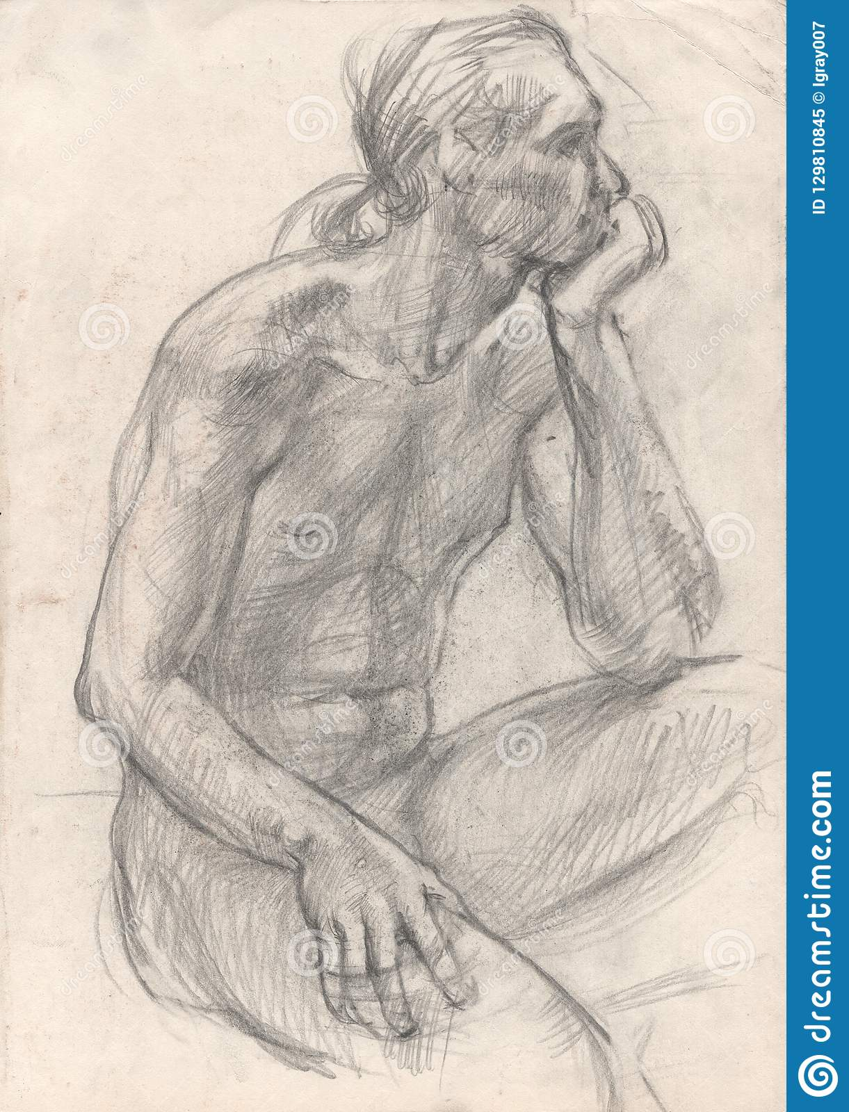 Figure drawing in pencil sitting man
