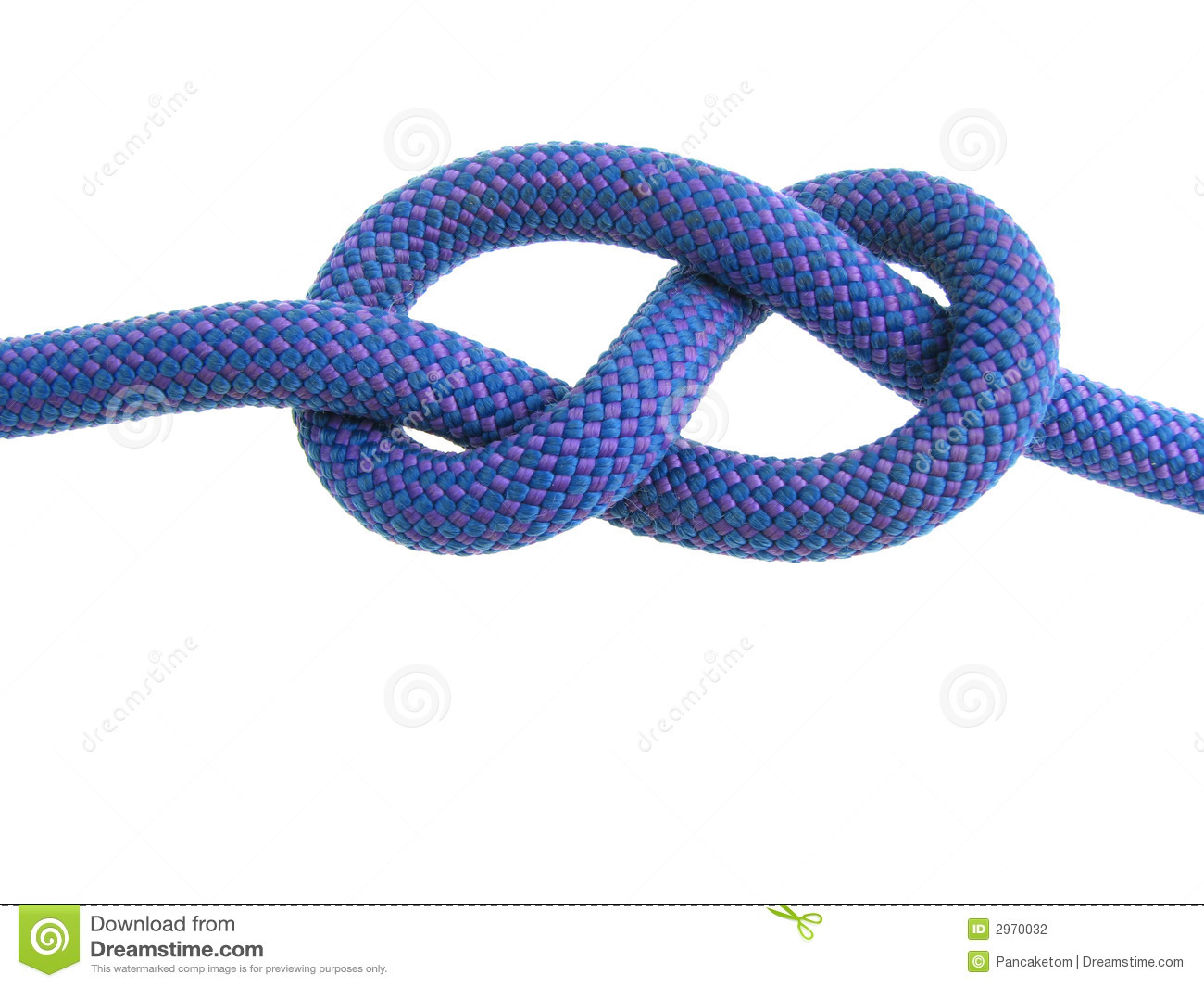 Figure eight knot in blue climbing rope isolated on white.