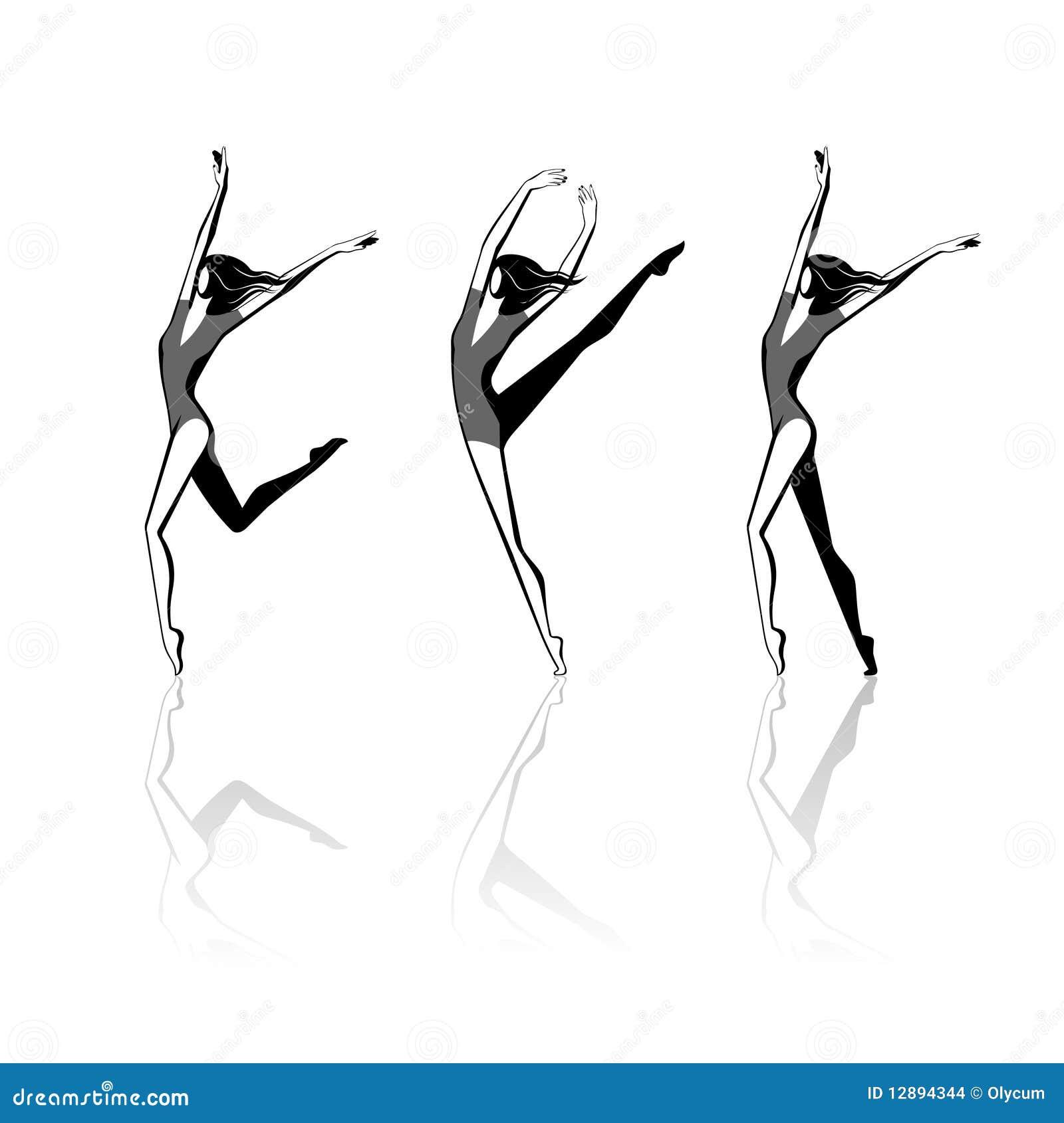 Figure Di Persone Stilizzate.Figure Femminili Stilizzate Nel Movimento Illustrazione Vettoriale