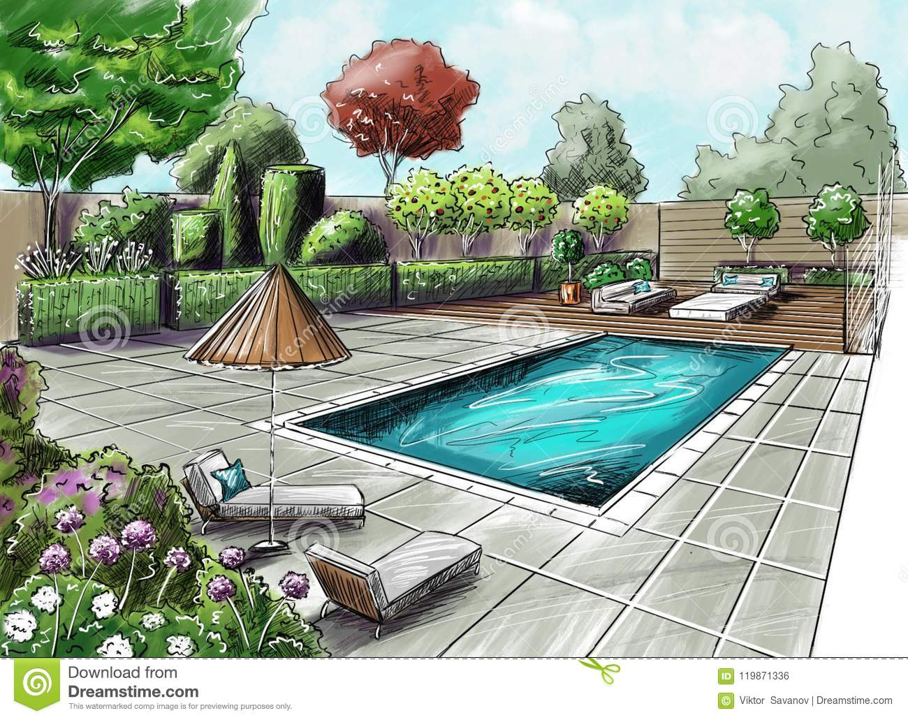 Figure Gazebos And Sculptures In The Garden Plot. Drawing House Garden  Cottage. The View From The Top.The Path To The House. View Of The Path Plan  2 ...