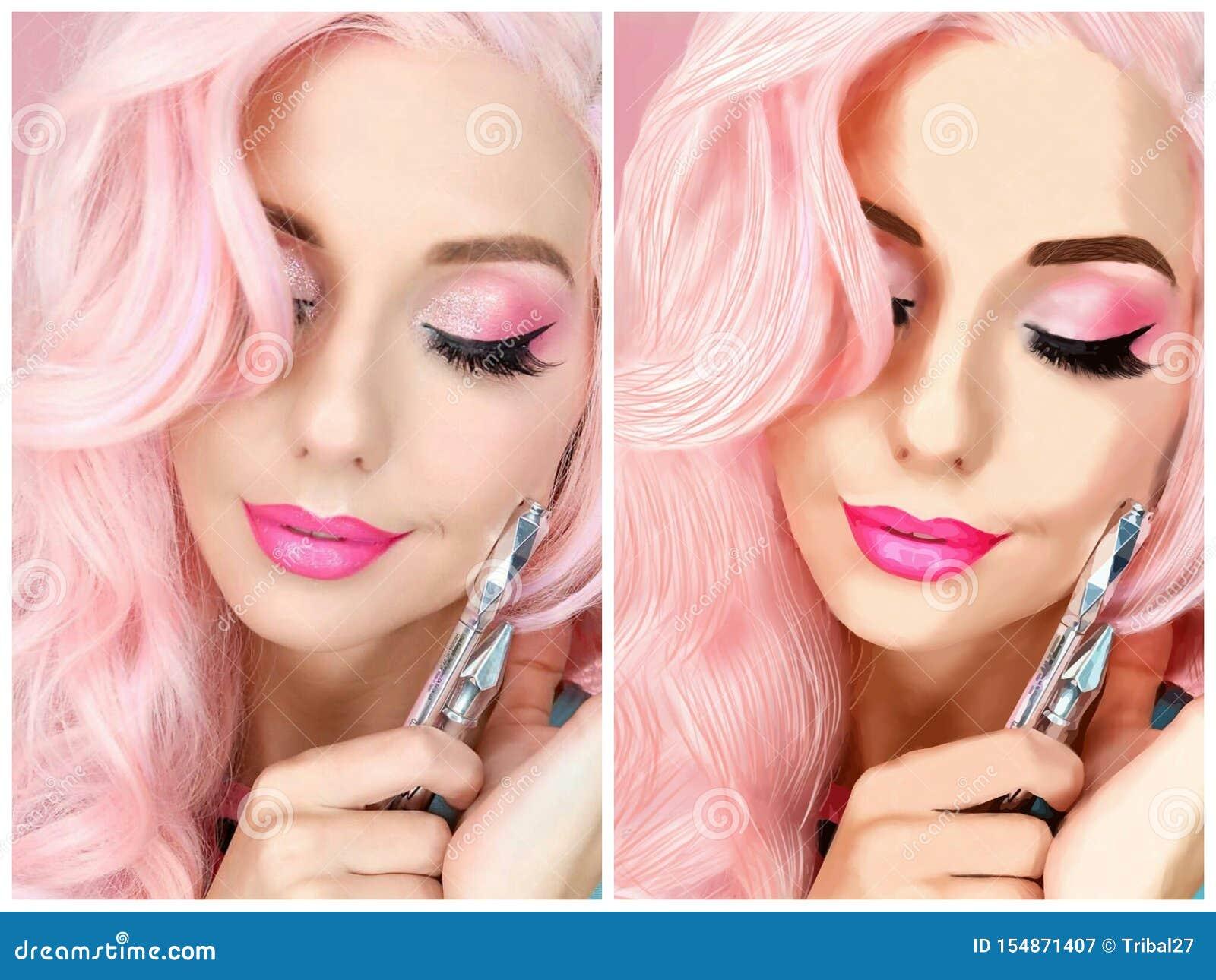 Figure Girl with Pink Hair stock illustration  Illustration