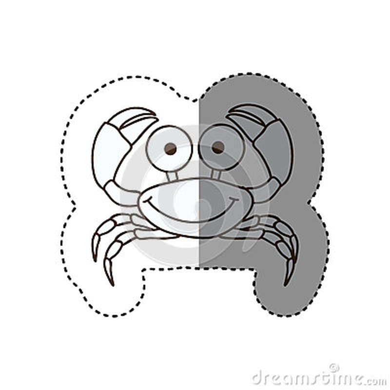 figure happy crab cartoon icon