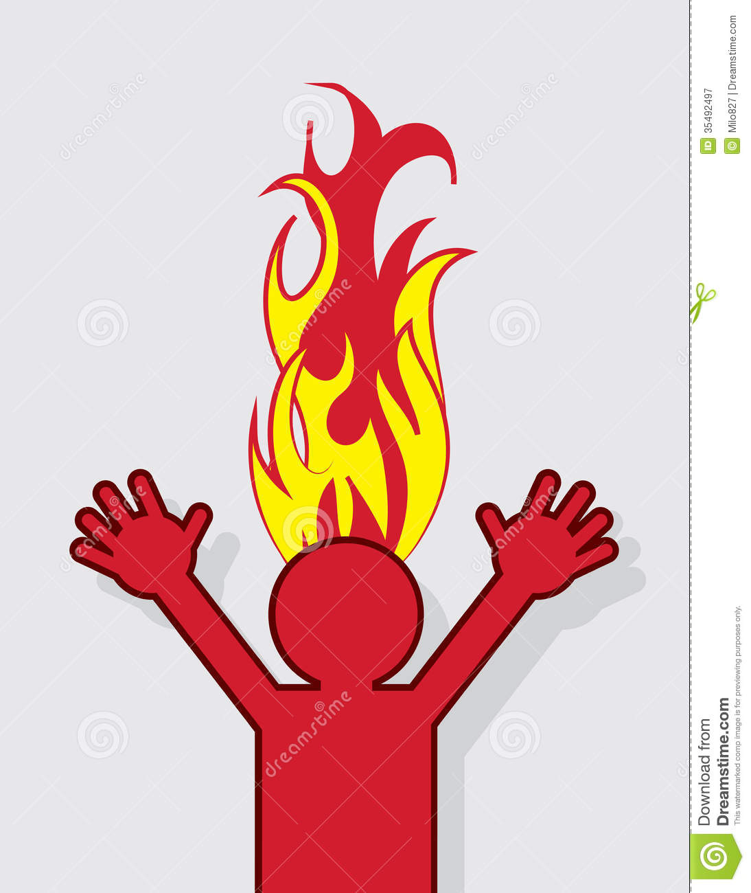 Figure Head On Fire Royalty Free Stock Photography - Image: 35492497