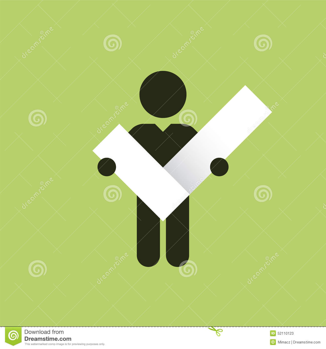 Figure Holding In Hands Right Check Mark Stock Illustration