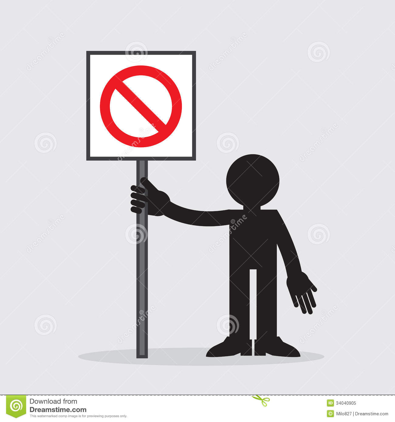 Figure Holding Sign Stock Vector Illustration Of Hands 34040905