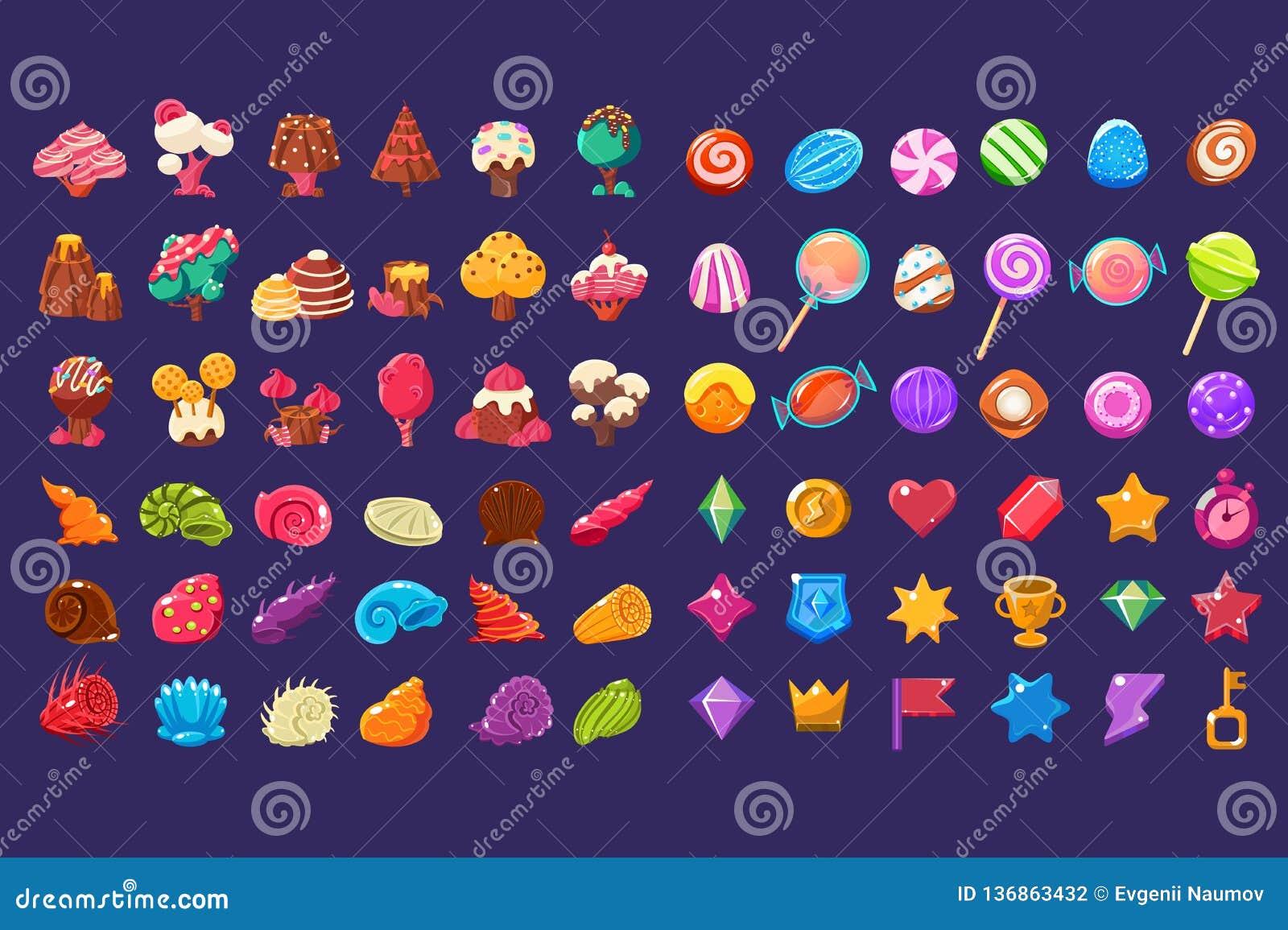 Figure lucide della gelatina variopinta delle forme differenti, elementi svegli di fantasia della terra dolce della caramella, do