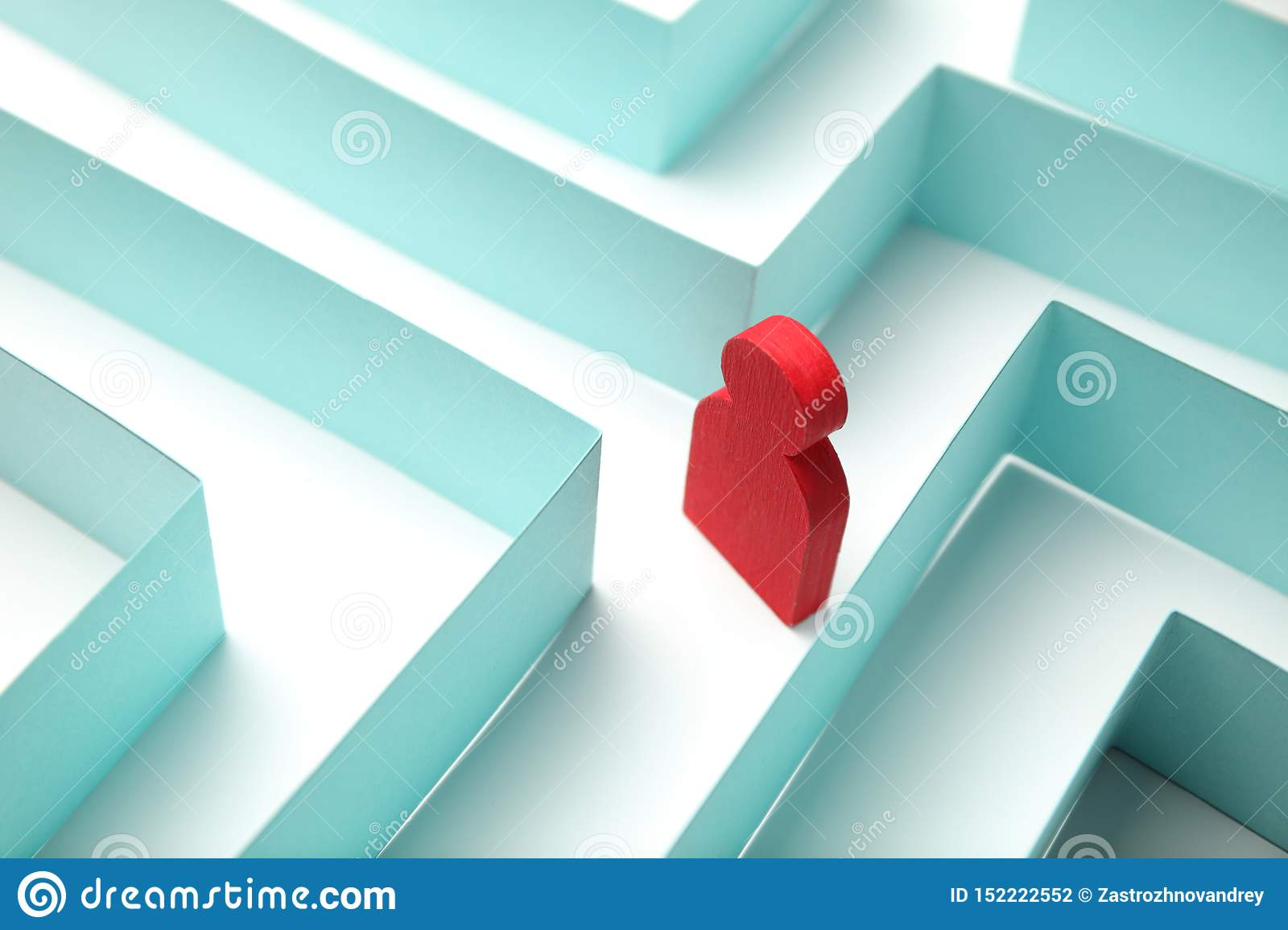 The figure of the person is looking for a way out of the maze, a solution to the problem