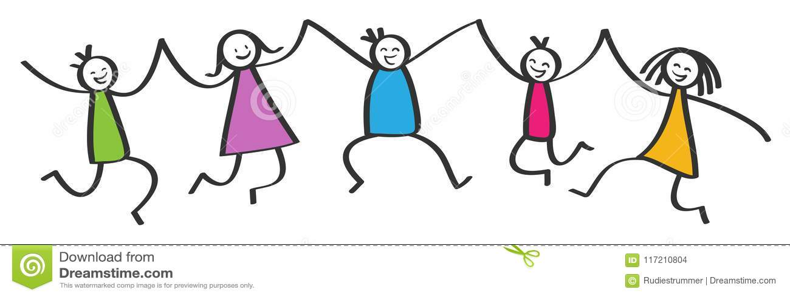 Figure semplici del bastone, cinque bambini variopinti felici che saltano, tenersi per mano, sorridere e ridere