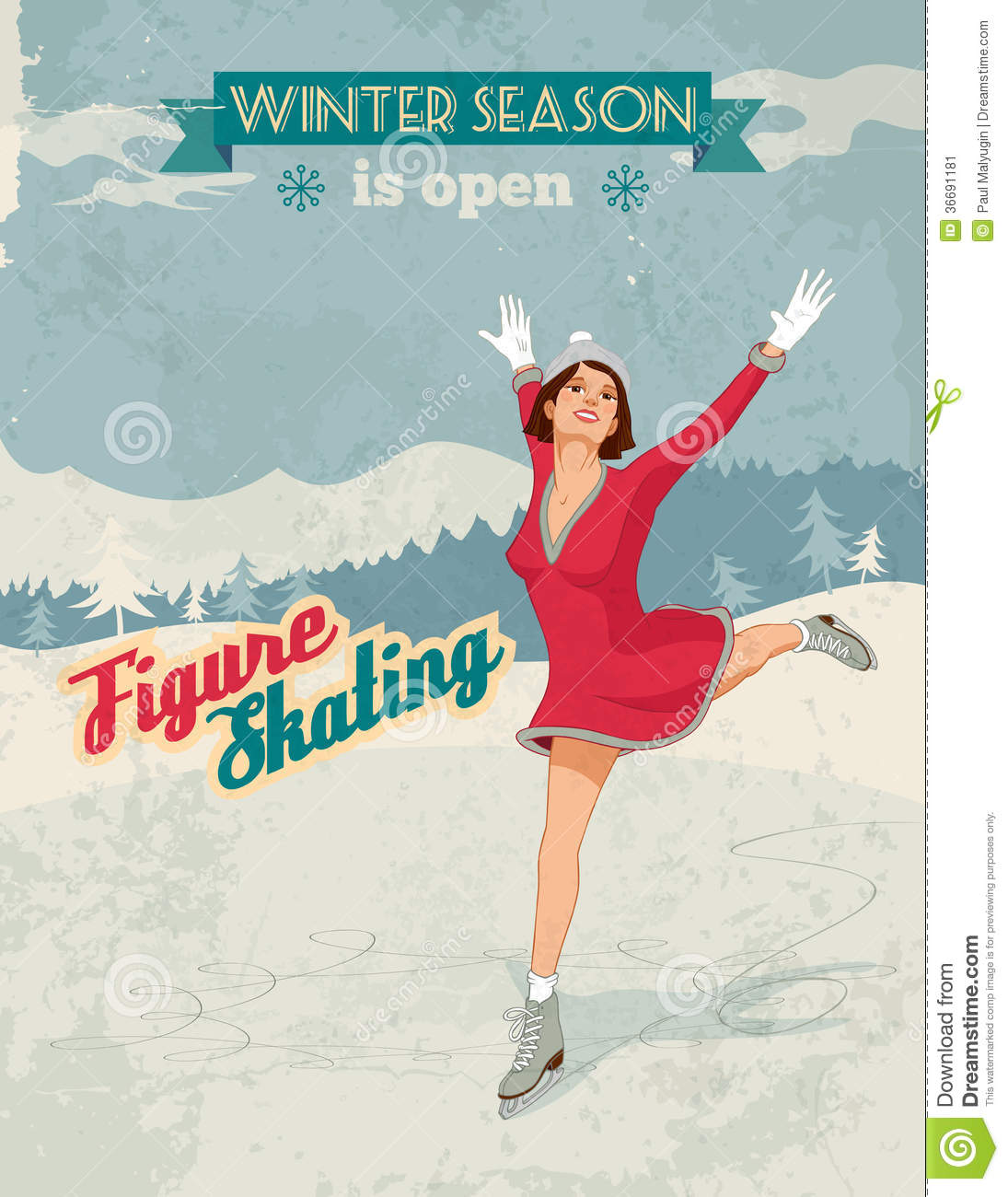 Winter sport poster in retro style with figure skater girl and titles ...